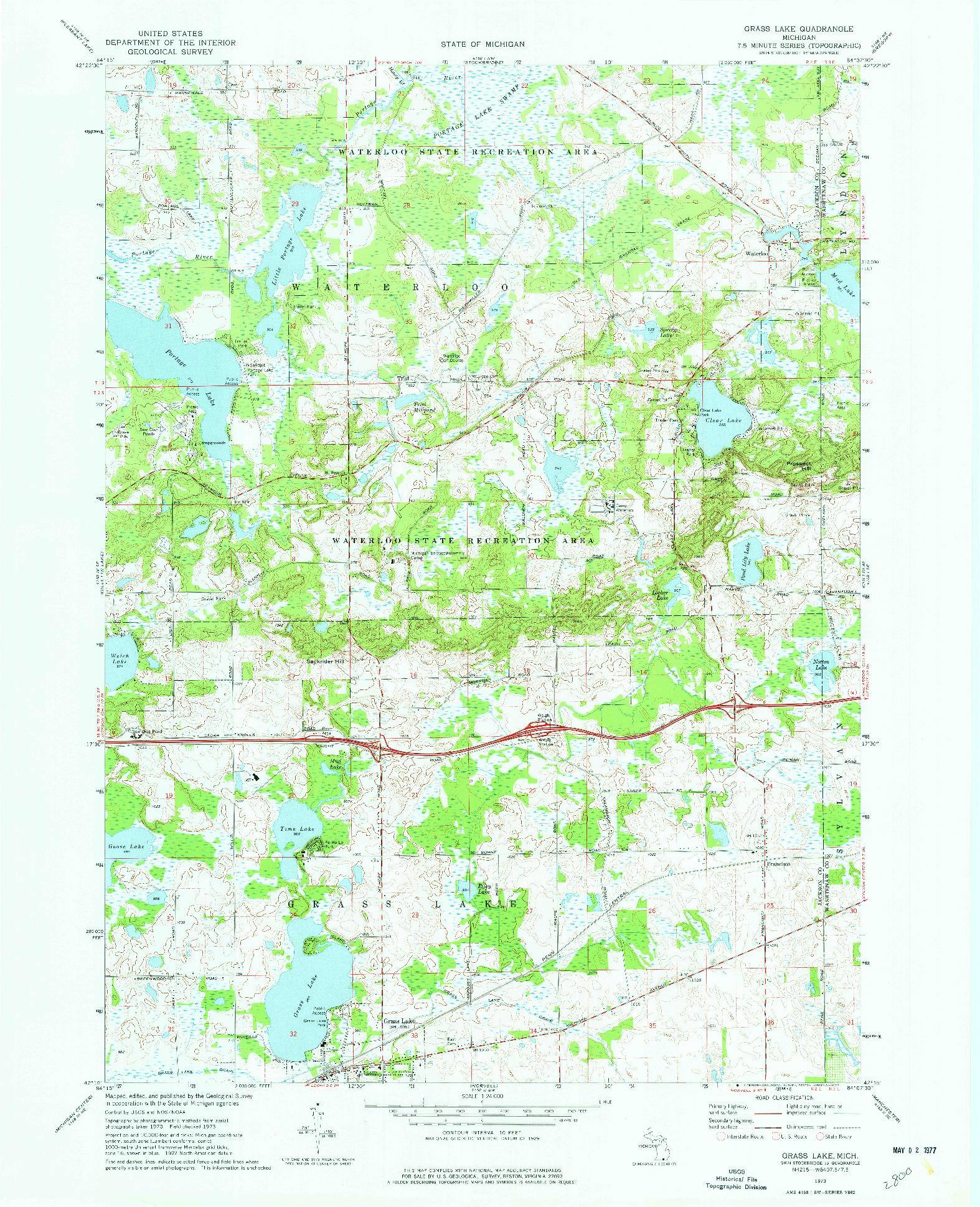 USGS 1:24000-SCALE QUADRANGLE FOR GRASS LAKE, MI 1973