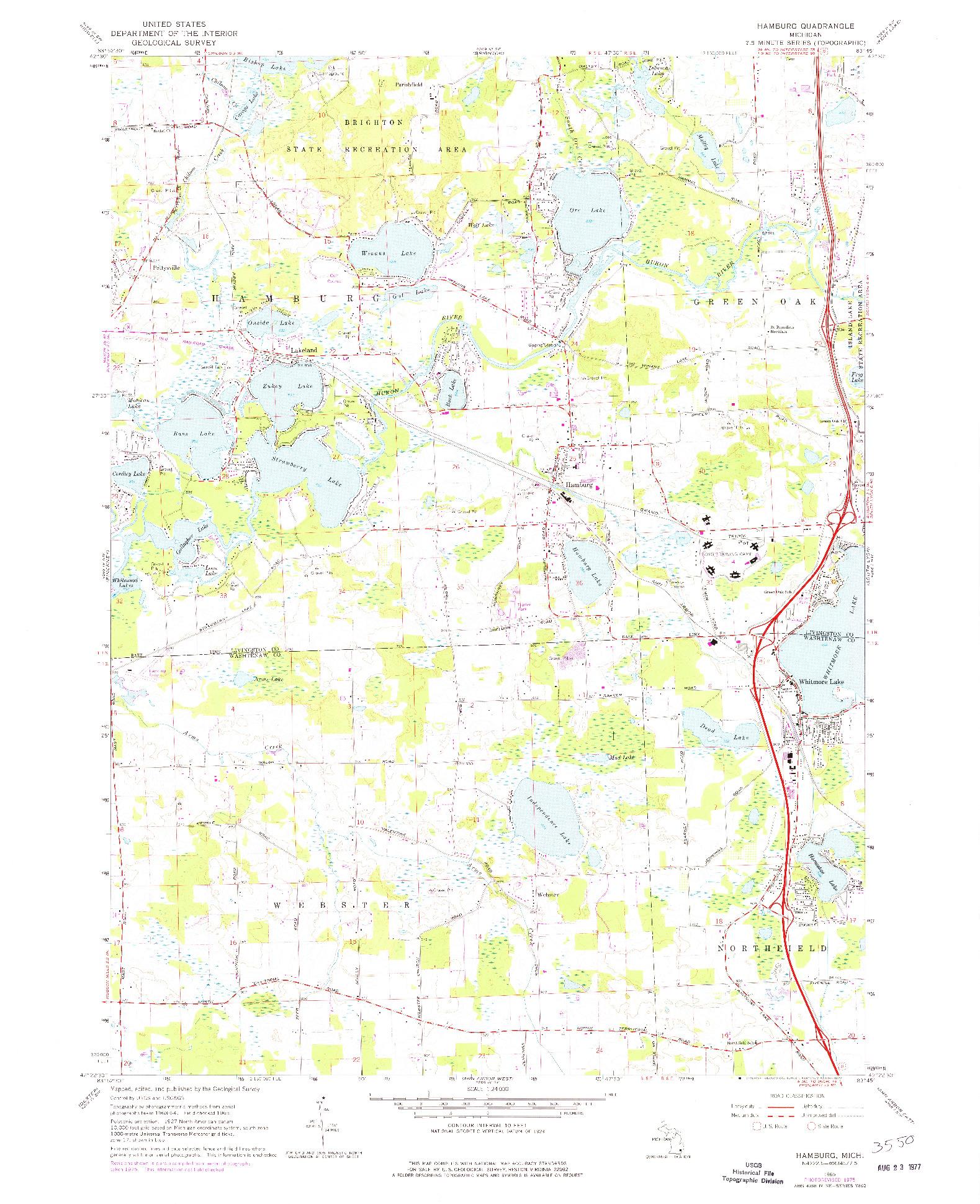 USGS 1:24000-SCALE QUADRANGLE FOR HAMBURG, MI 1965