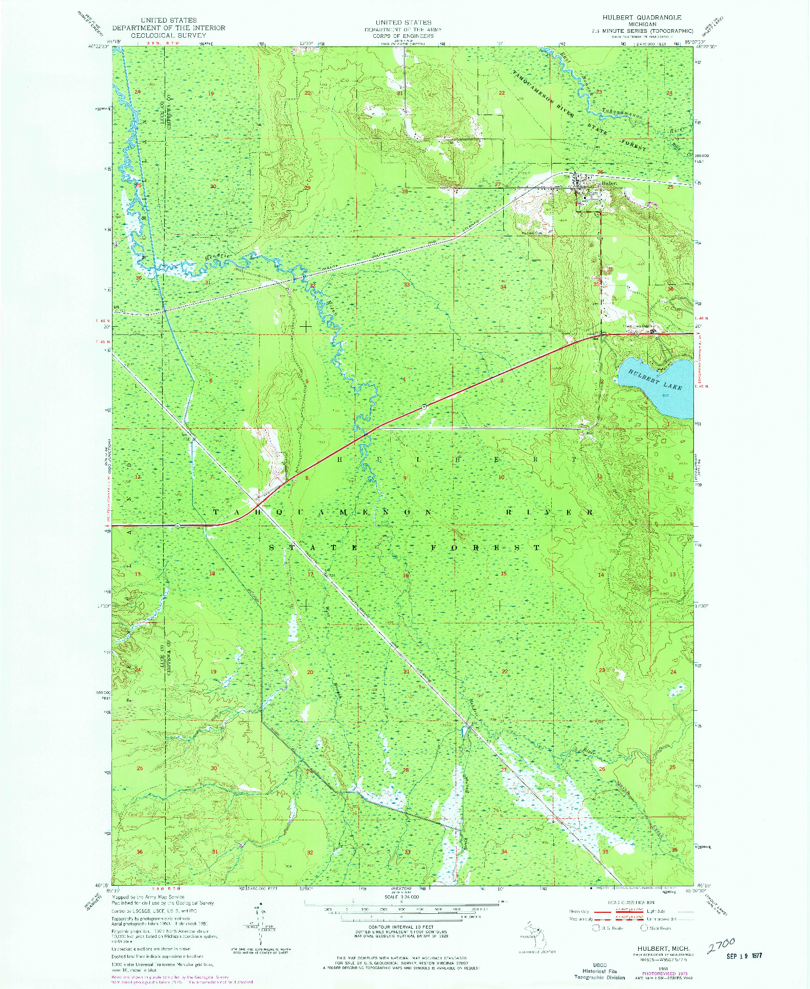 USGS 1:24000-SCALE QUADRANGLE FOR HULBERT, MI 1951