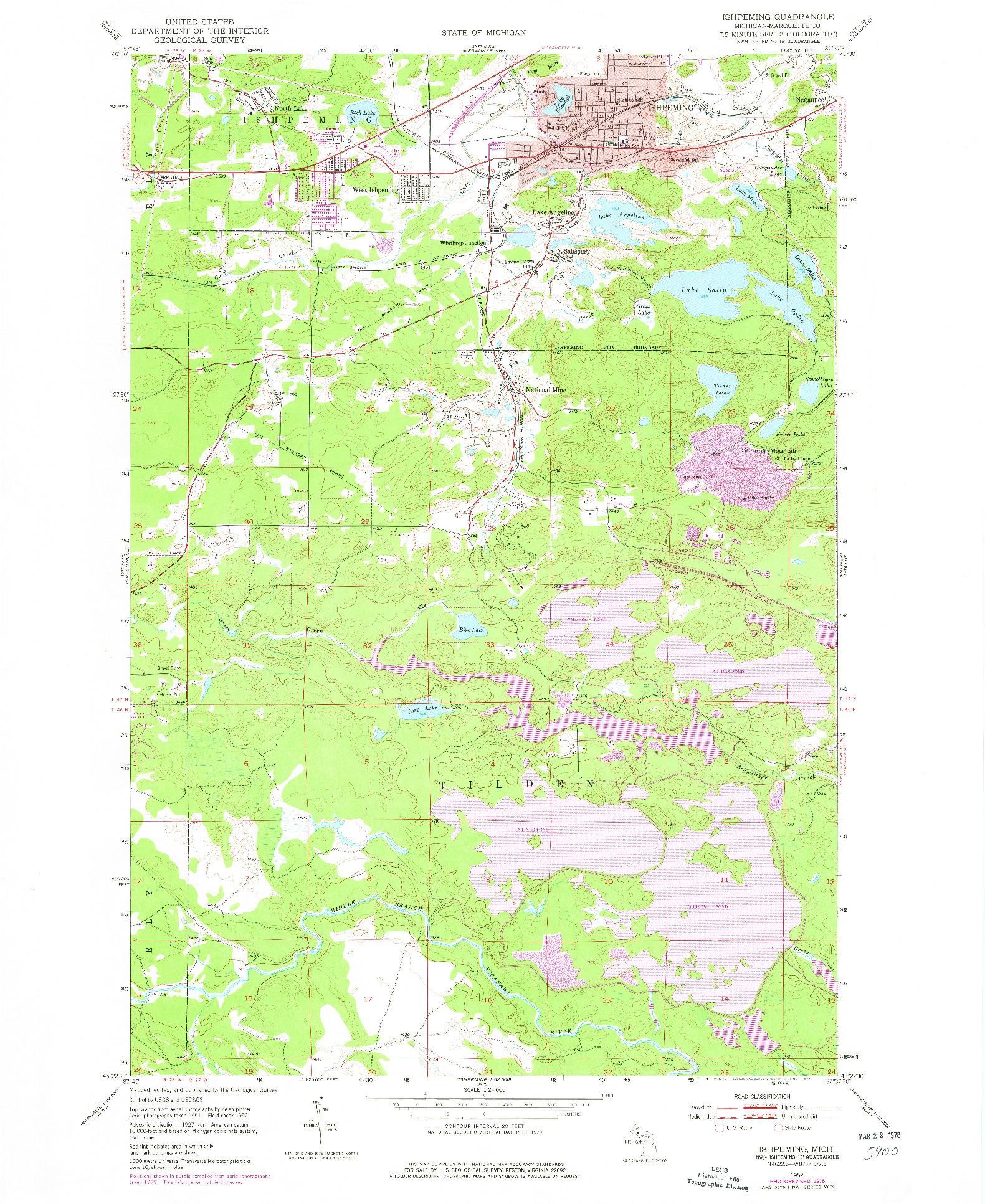 USGS 1:24000-SCALE QUADRANGLE FOR ISHPEMING, MI 1952