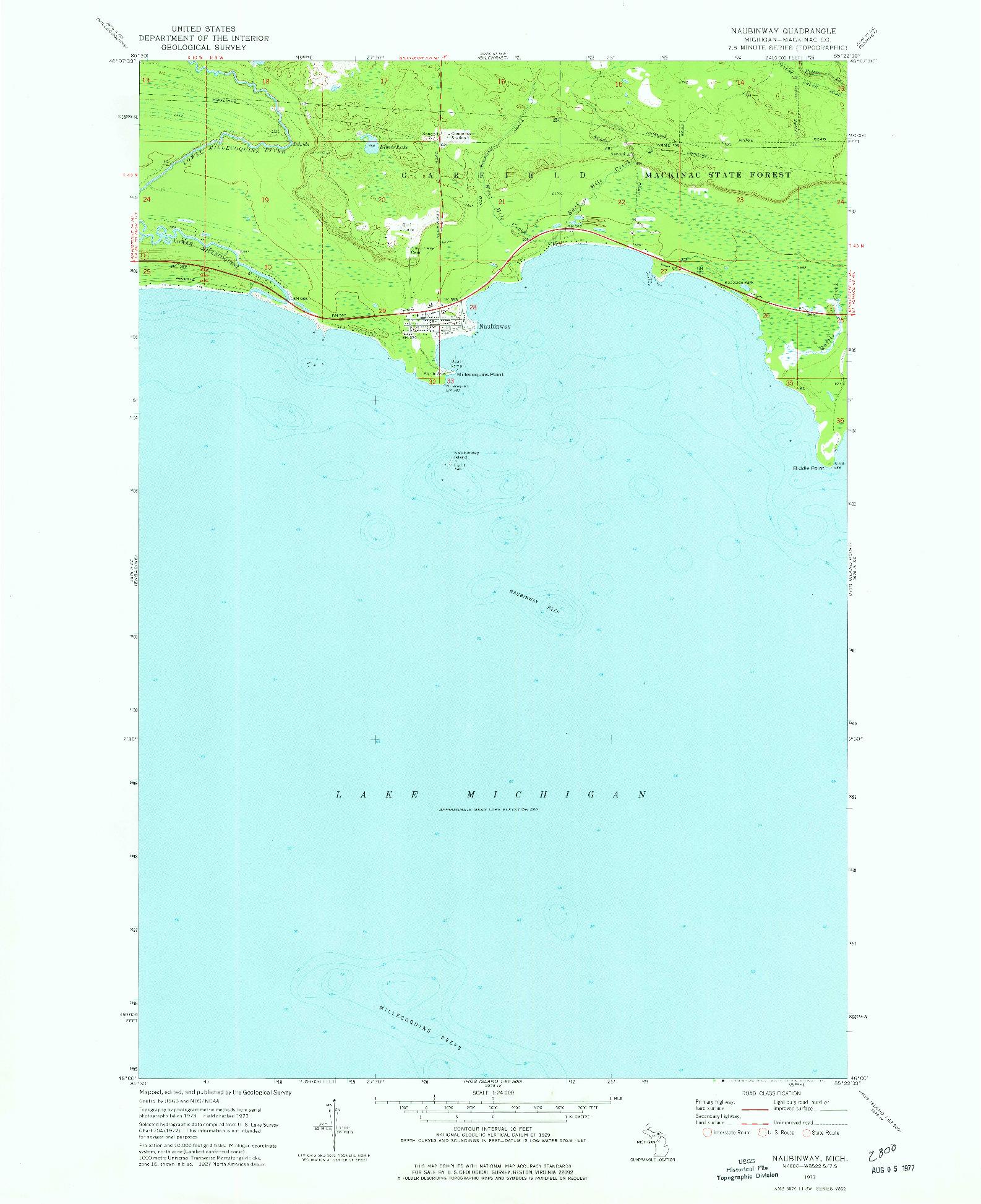 USGS 1:24000-SCALE QUADRANGLE FOR NAUBINWAY, MI 1973