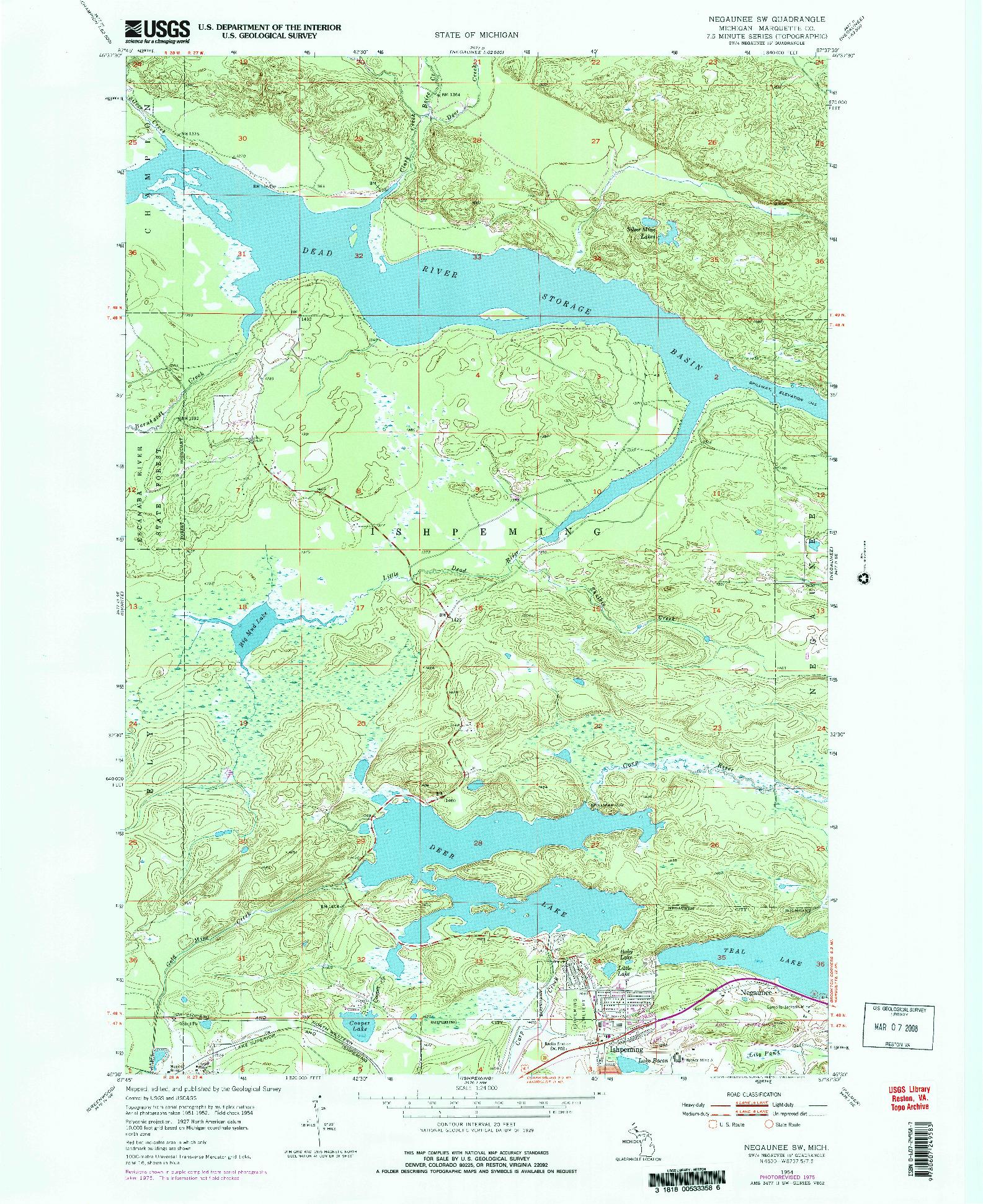 USGS 1:24000-SCALE QUADRANGLE FOR NEGAUNEE SW, MI 1954