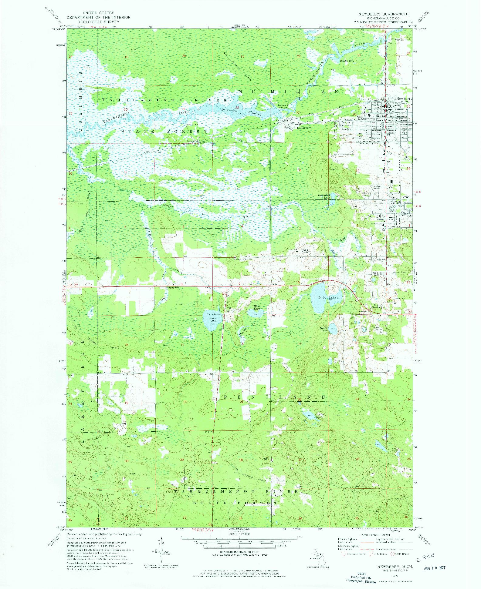 USGS 1:24000-SCALE QUADRANGLE FOR NEWBERRY, MI 1973