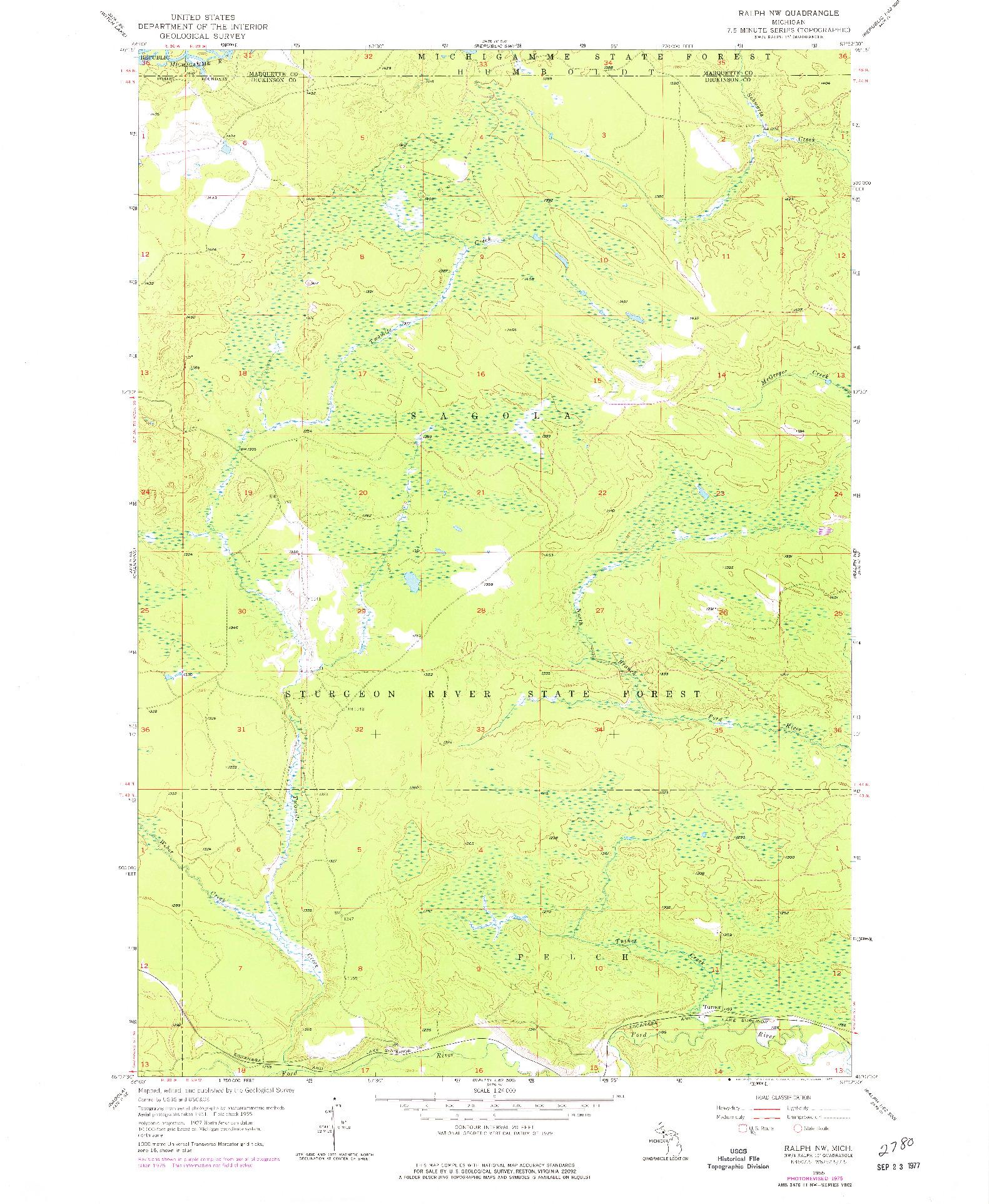 USGS 1:24000-SCALE QUADRANGLE FOR RALPH NW, MI 1955