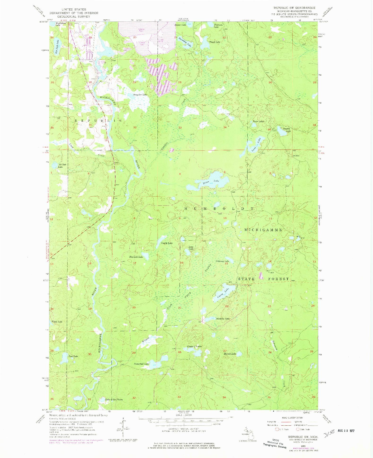 USGS 1:24000-SCALE QUADRANGLE FOR REPUBLIC SW, MI 1955