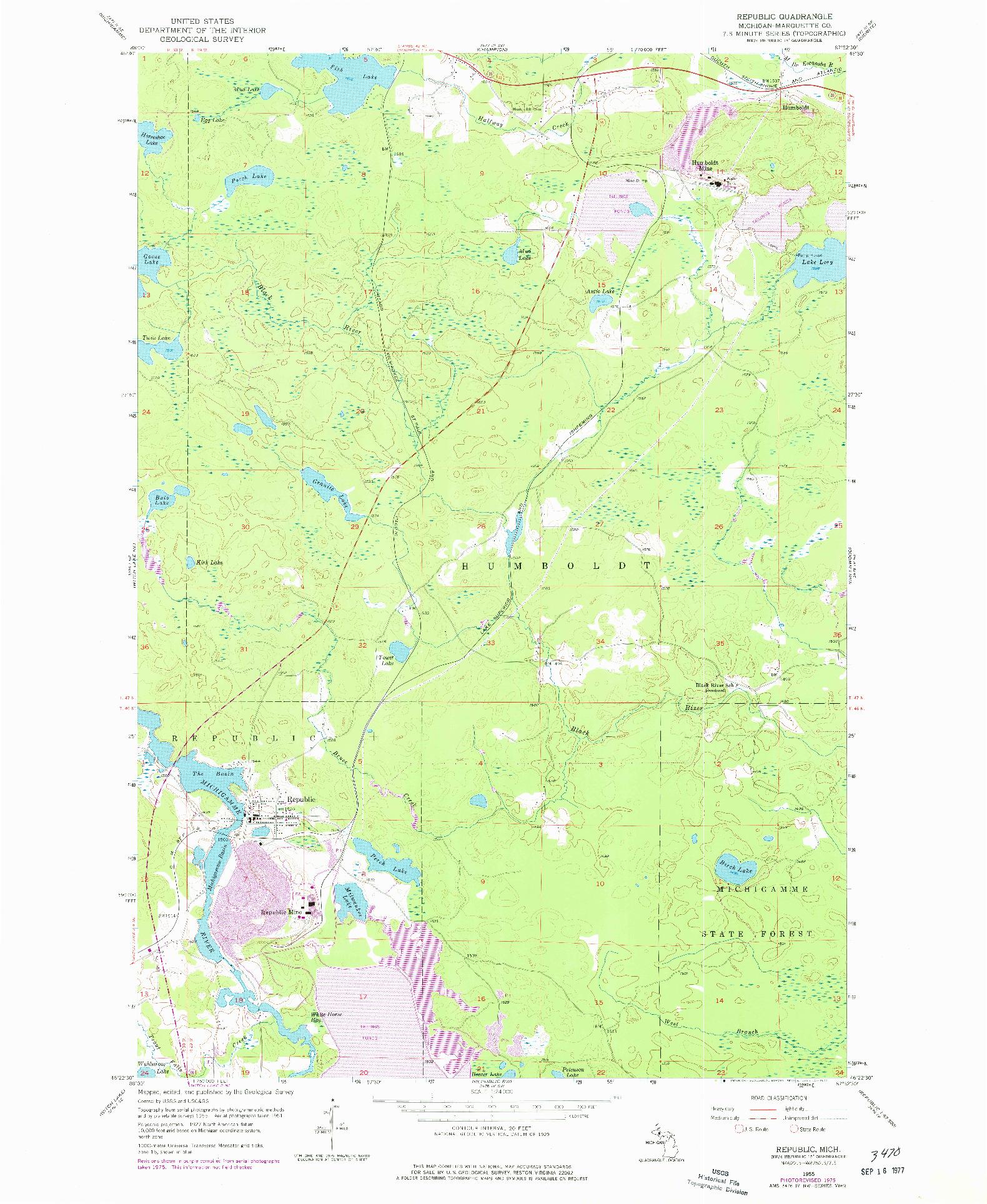 USGS 1:24000-SCALE QUADRANGLE FOR REPUBLIC, MI 1955