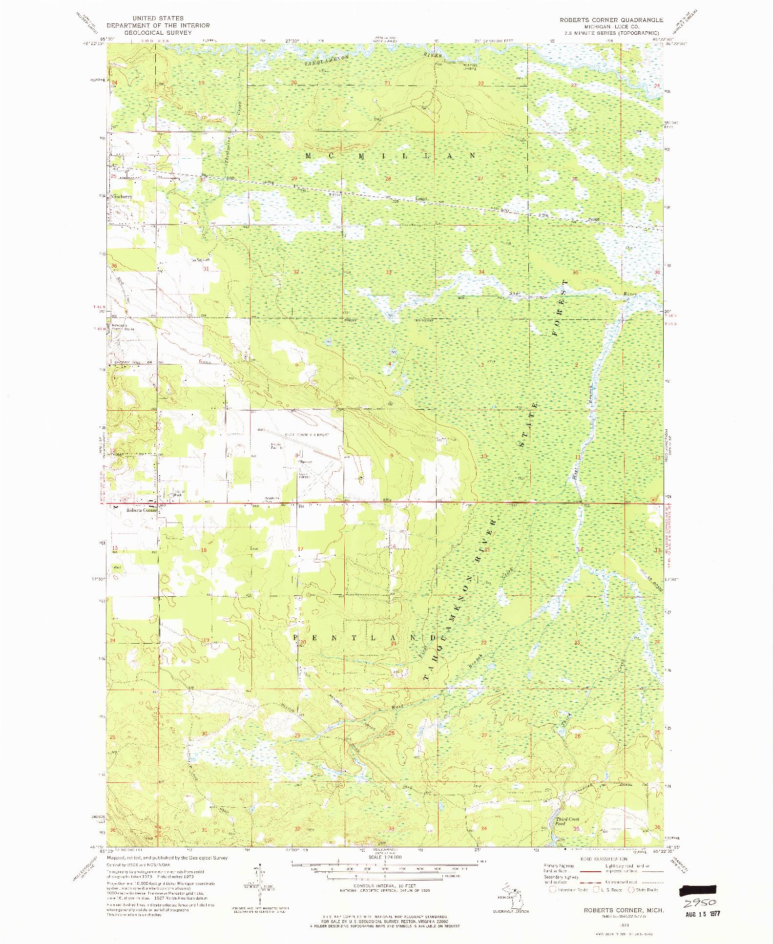 USGS 1:24000-SCALE QUADRANGLE FOR ROBERTS CORNER, MI 1973
