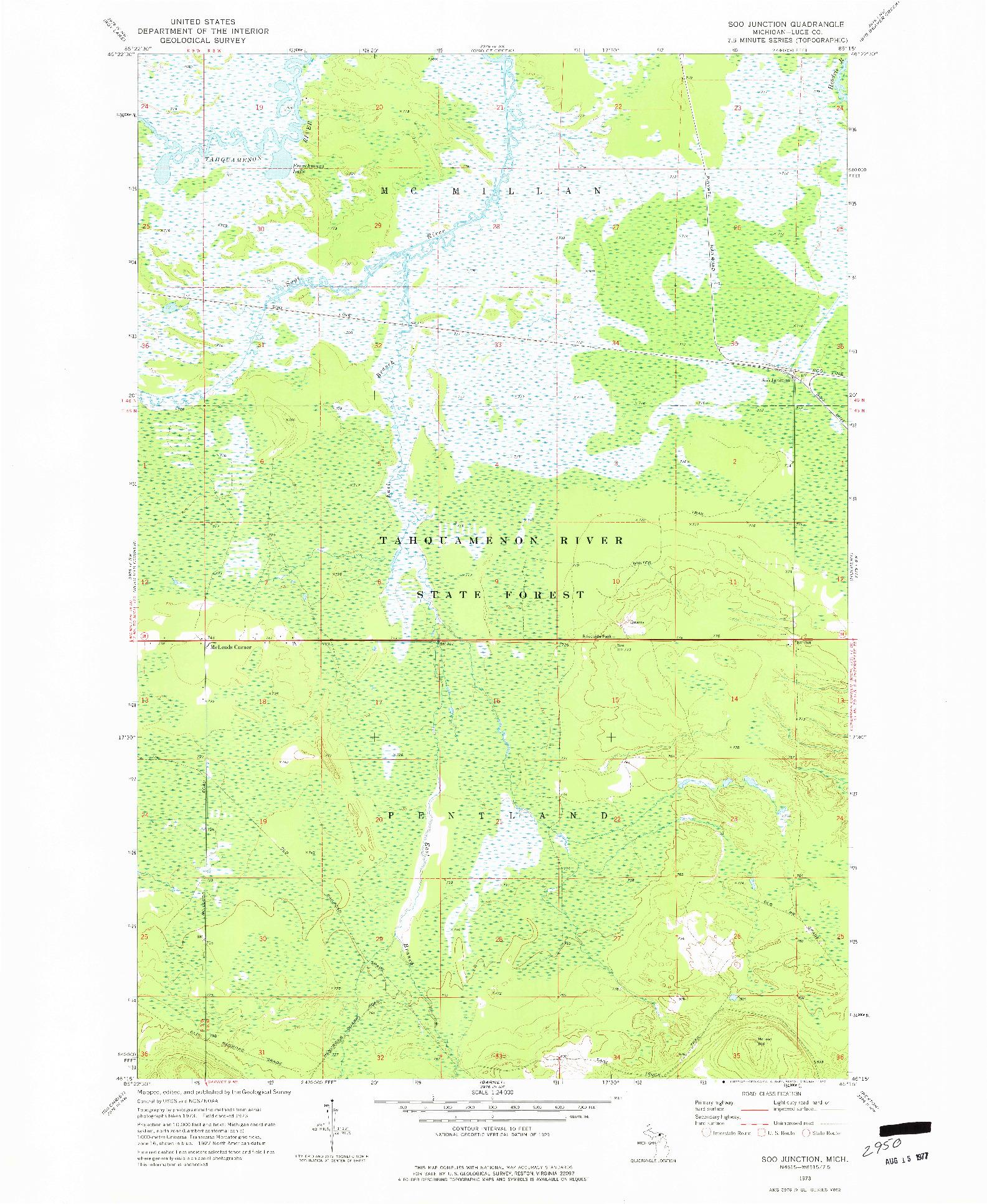 USGS 1:24000-SCALE QUADRANGLE FOR SOO JUNCTION, MI 1973