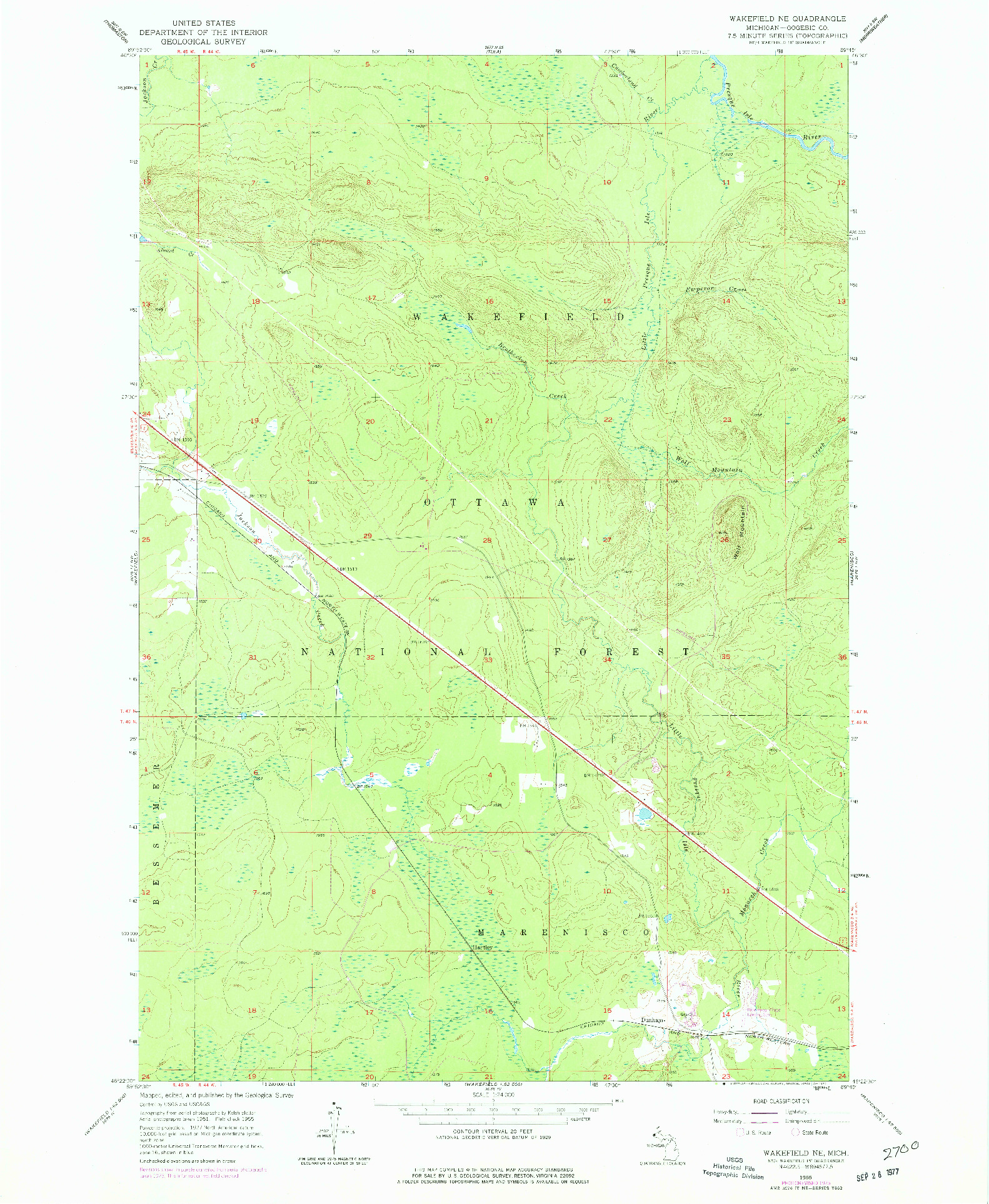 USGS 1:24000-SCALE QUADRANGLE FOR WAKEFIELD NE, MI 1955