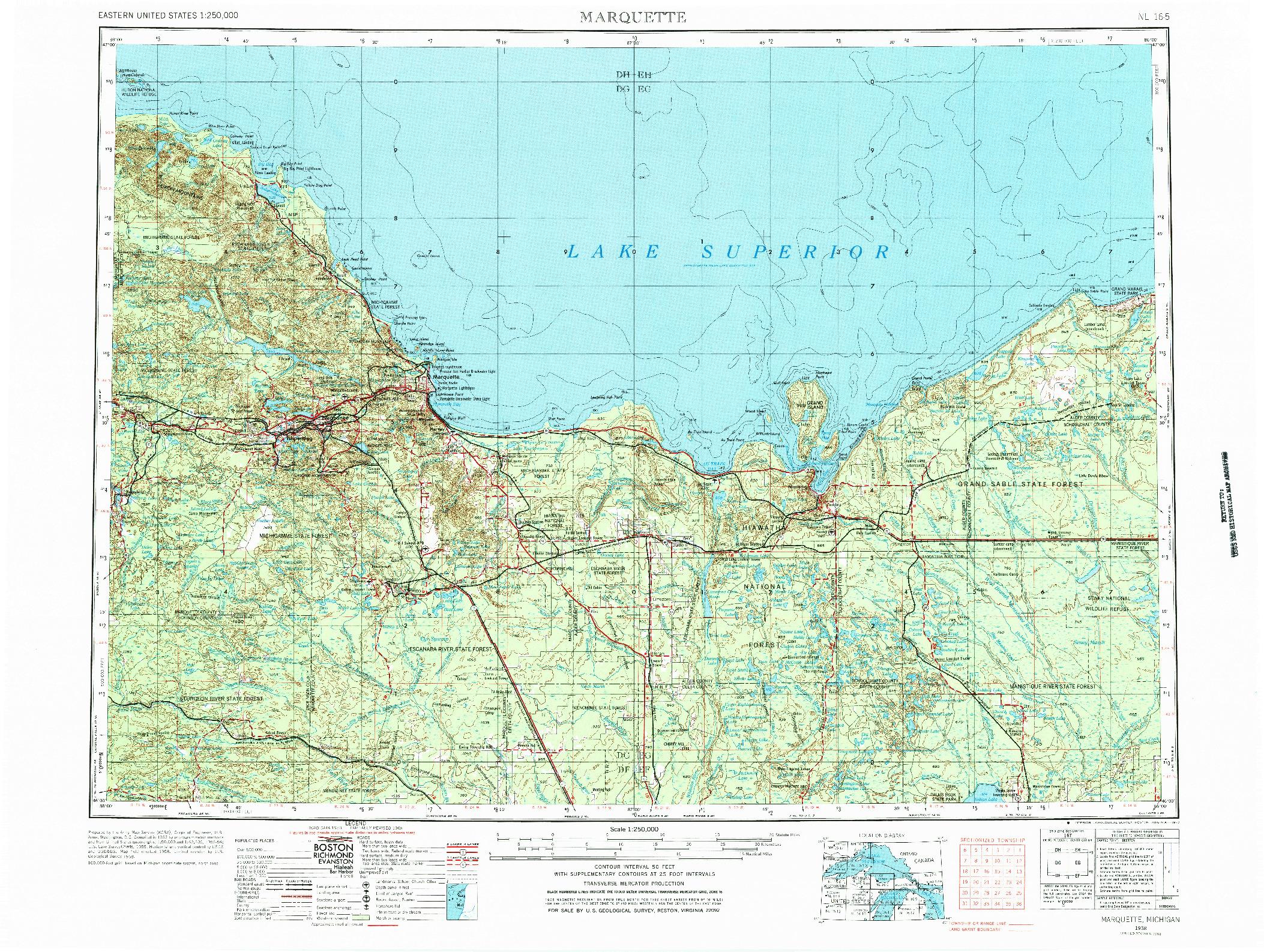 USGS 1:250000-SCALE QUADRANGLE FOR MARQUETTE, MI 1968
