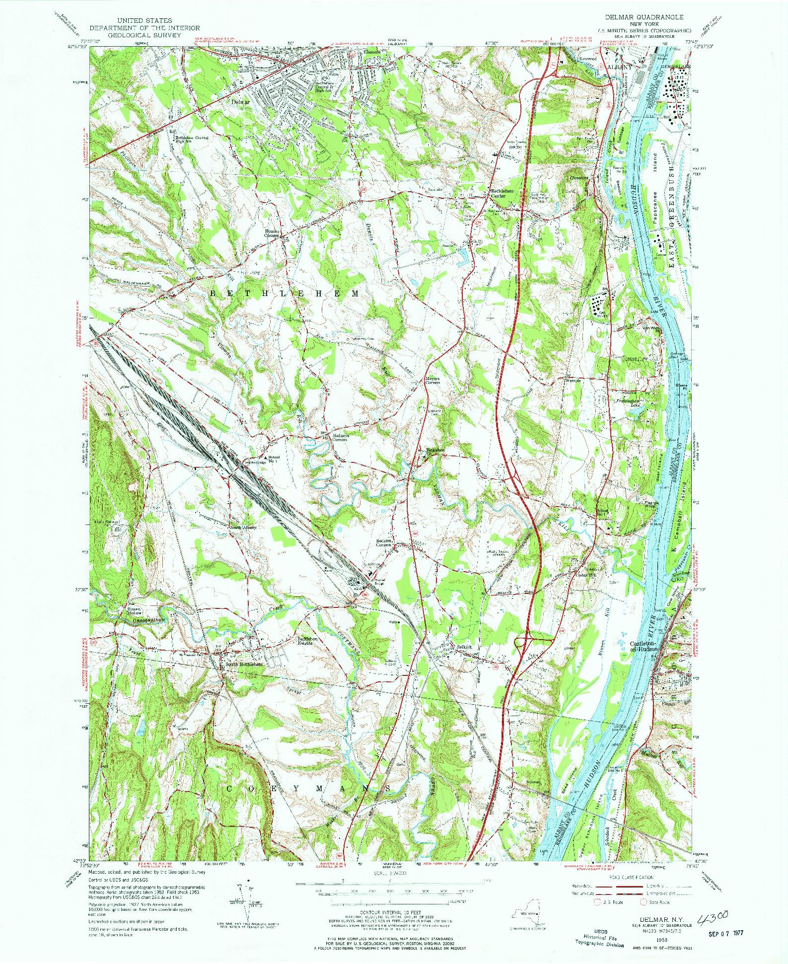 USGS 1:24000-SCALE QUADRANGLE FOR DELMAR, NY 1953