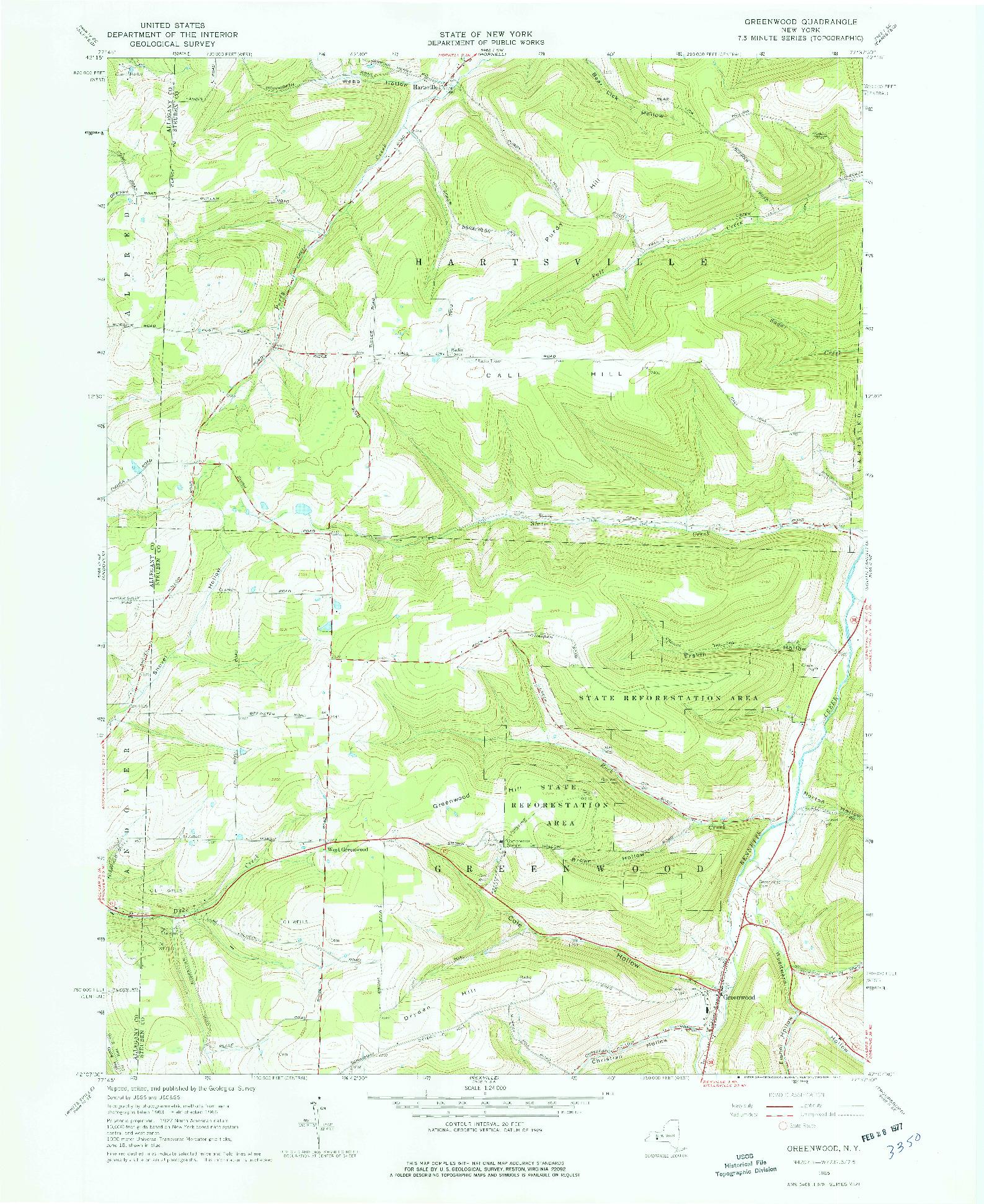 USGS 1:24000-SCALE QUADRANGLE FOR GREENWOOD, NY 1965