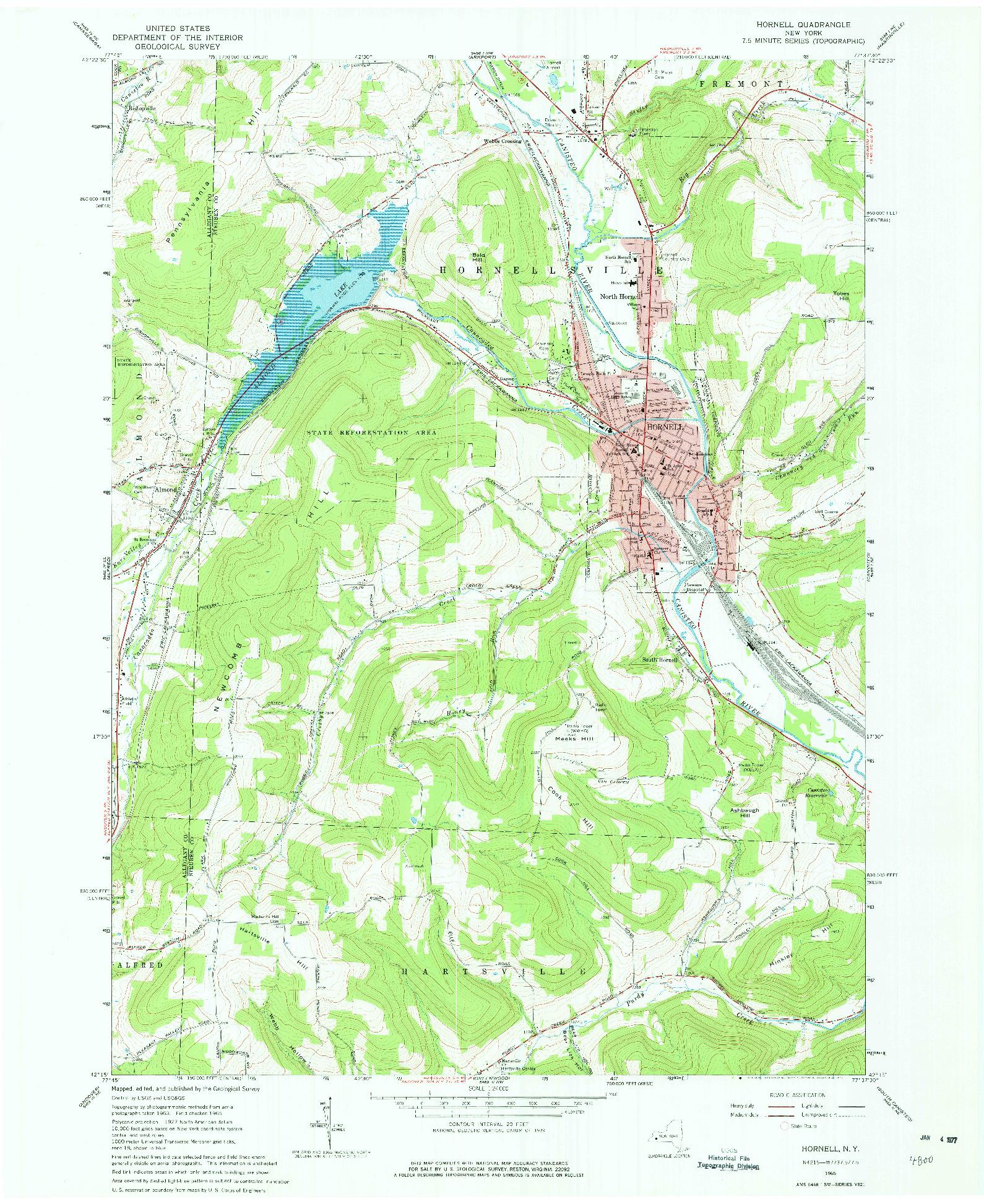 USGS 1:24000-SCALE QUADRANGLE FOR HORNELL, NY 1965