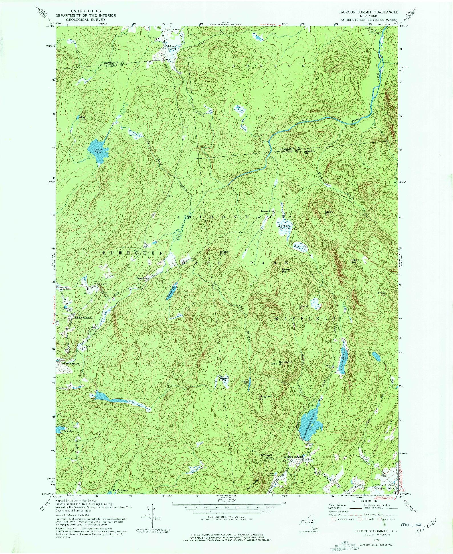 USGS 1:24000-SCALE QUADRANGLE FOR JACKSON SUMMIT, NY 1970
