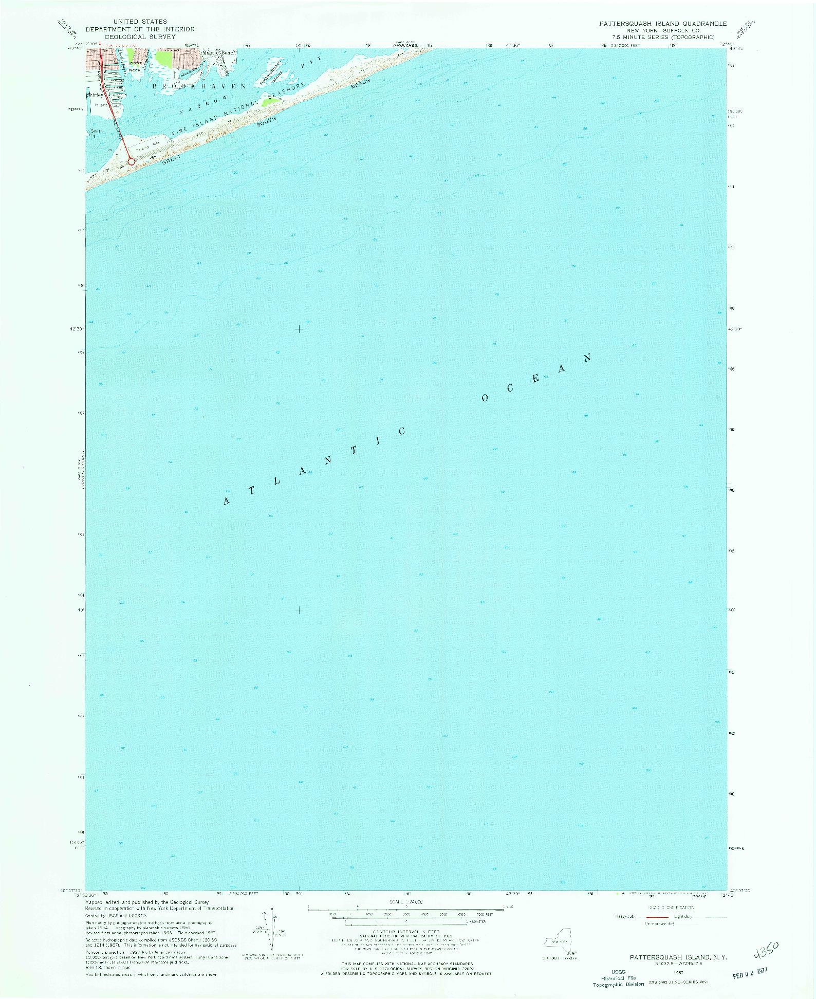 USGS 1:24000-SCALE QUADRANGLE FOR PATTERSQUASH ISLAND, NY 1967