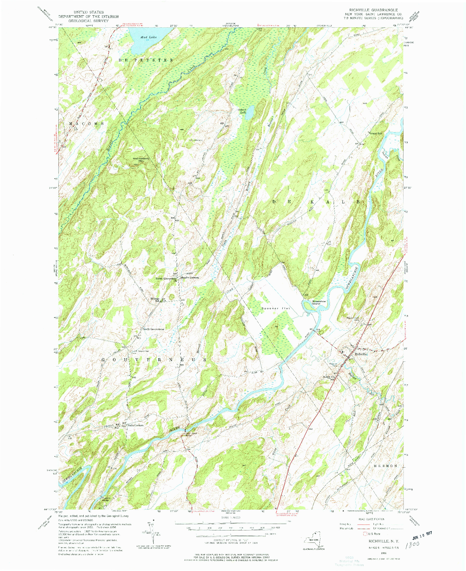 USGS 1:24000-SCALE QUADRANGLE FOR RICHVILLE, NY 1956