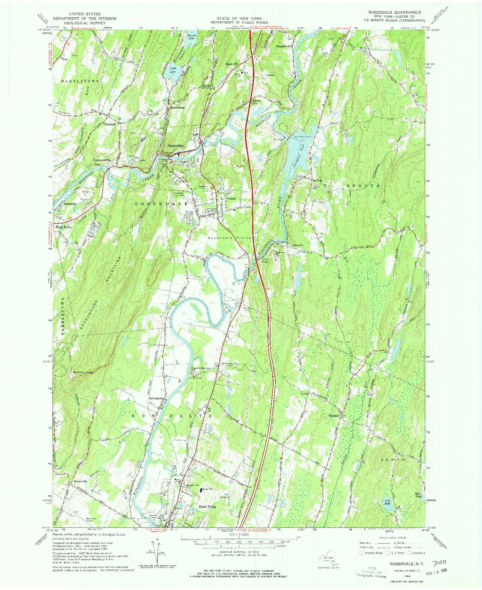 USGS 1:24000-SCALE QUADRANGLE FOR ROSENDALE, NY 1964