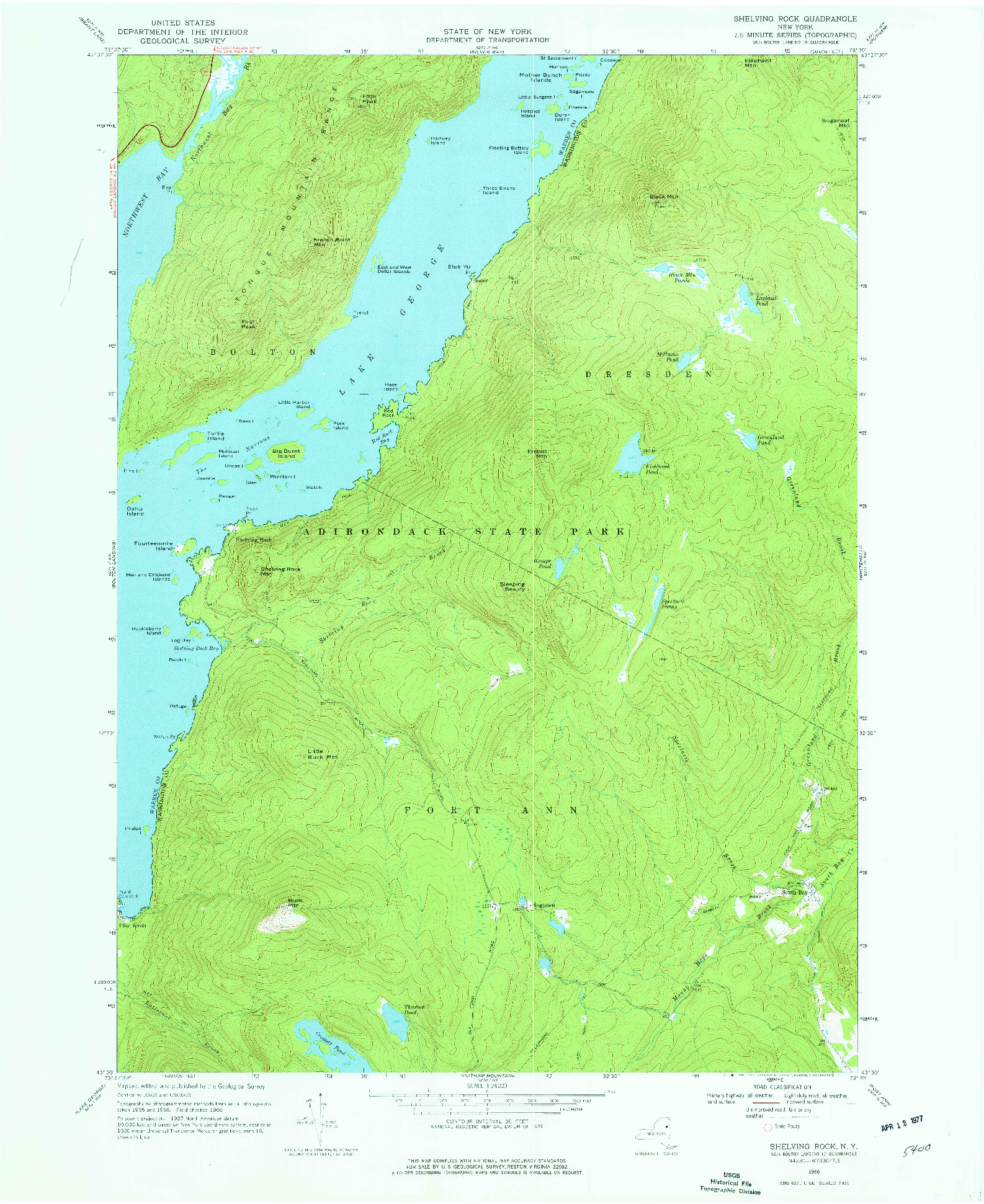 USGS 1:24000-SCALE QUADRANGLE FOR SHELVING ROCK, NY 1966