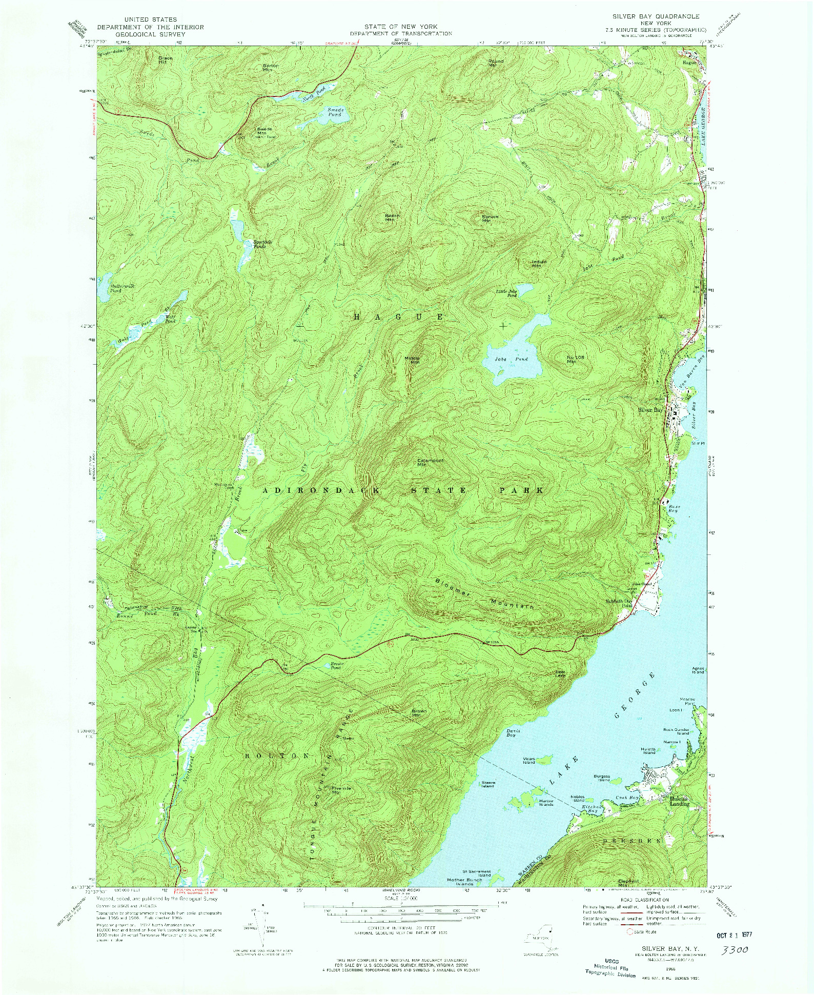 USGS 1:24000-SCALE QUADRANGLE FOR SILVER BAY, NY 1966