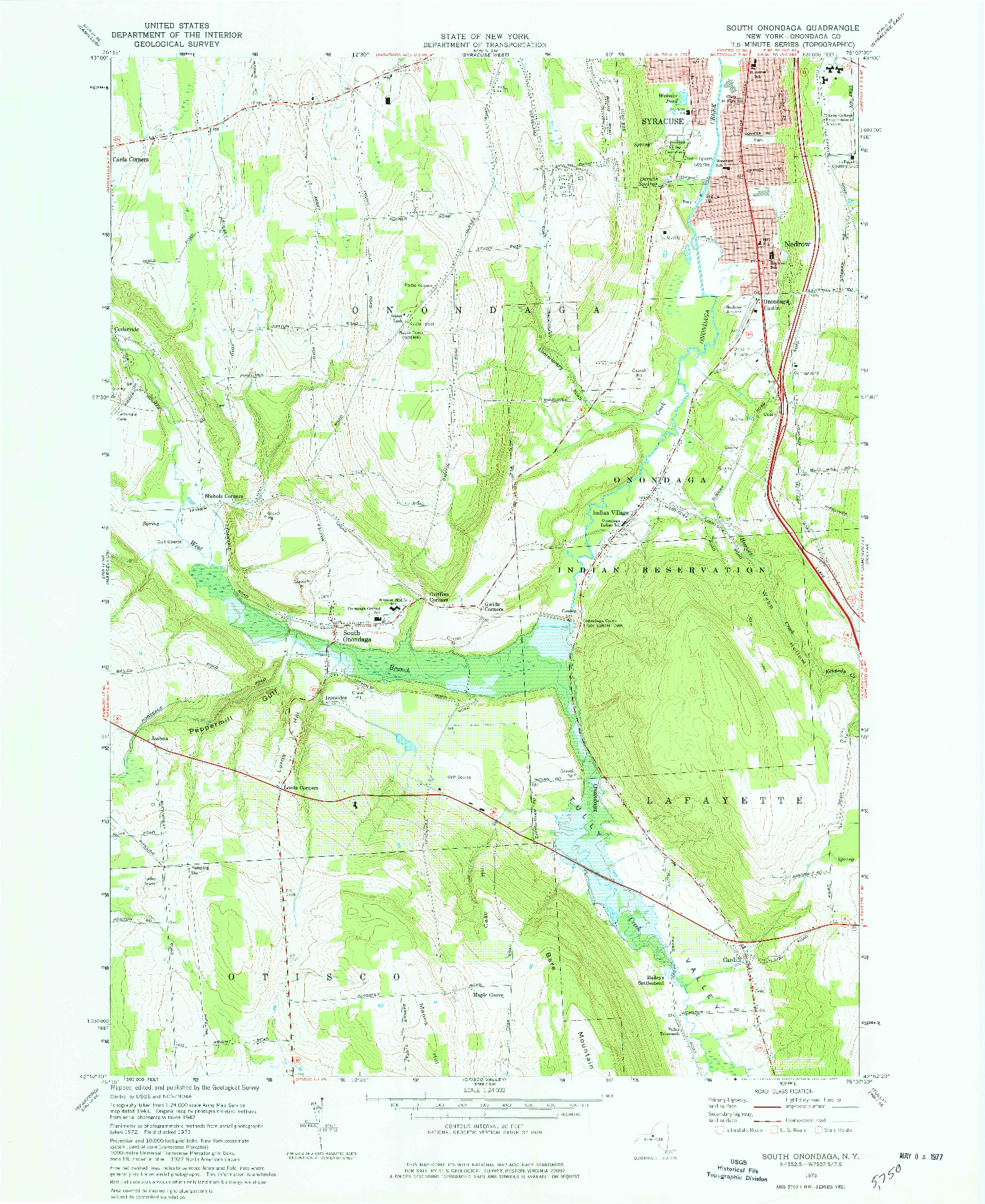 USGS 1:24000-SCALE QUADRANGLE FOR SOUTH ONONDAGA, NY 1973