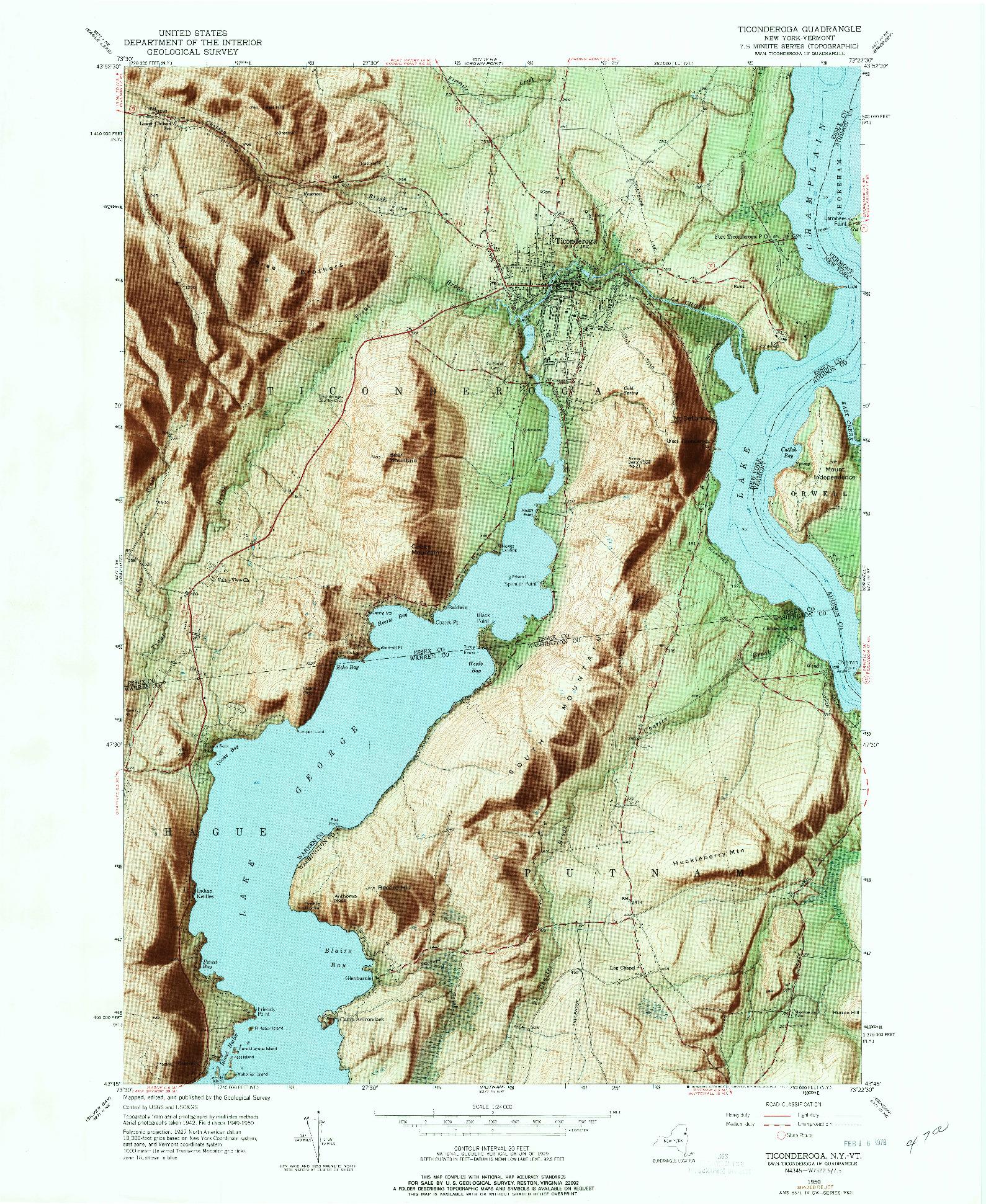 USGS 1:24000-SCALE QUADRANGLE FOR TICONDEROGA, NY 1950