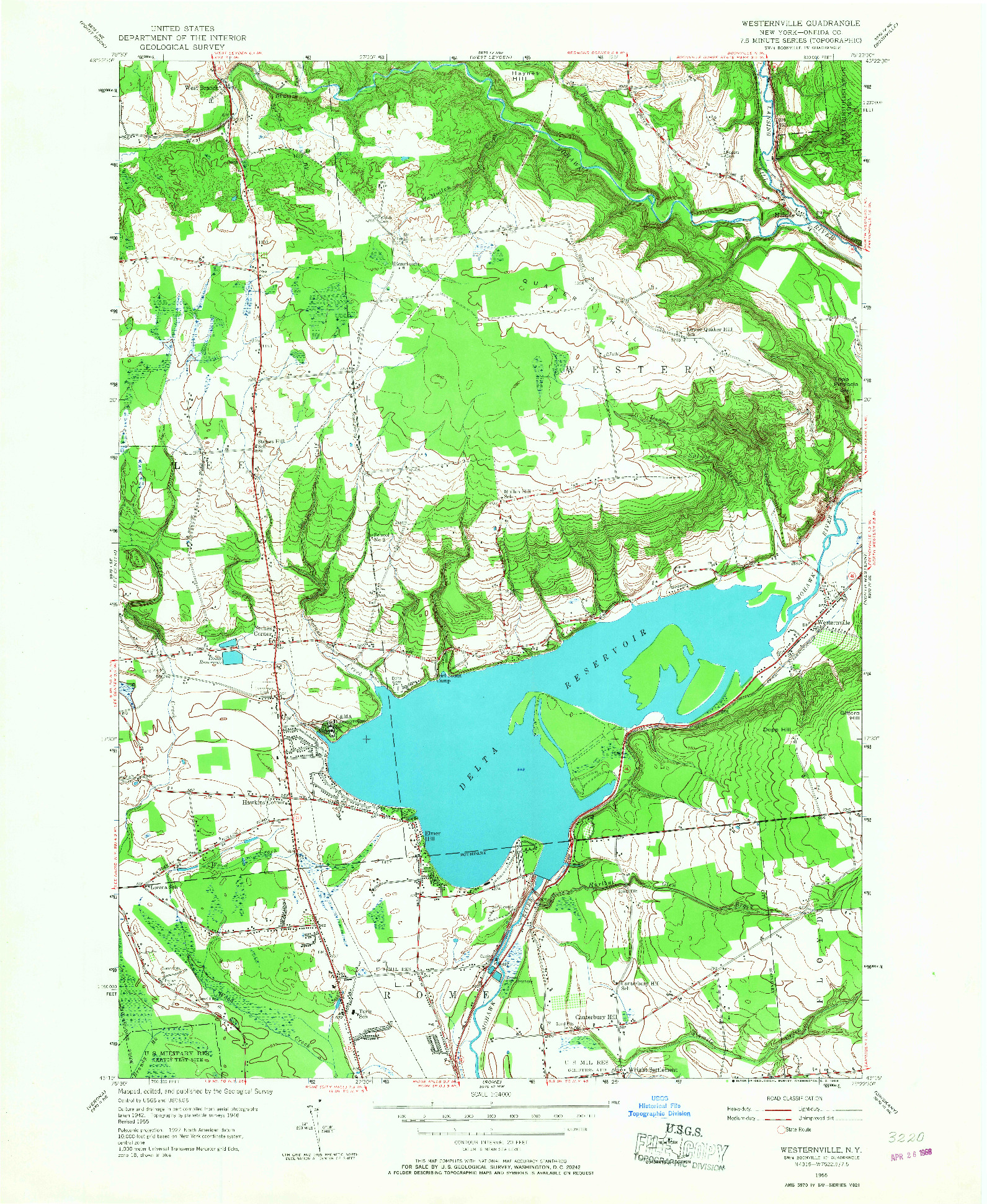 USGS 1:24000-SCALE QUADRANGLE FOR WESTERNVILLE, NY 1955