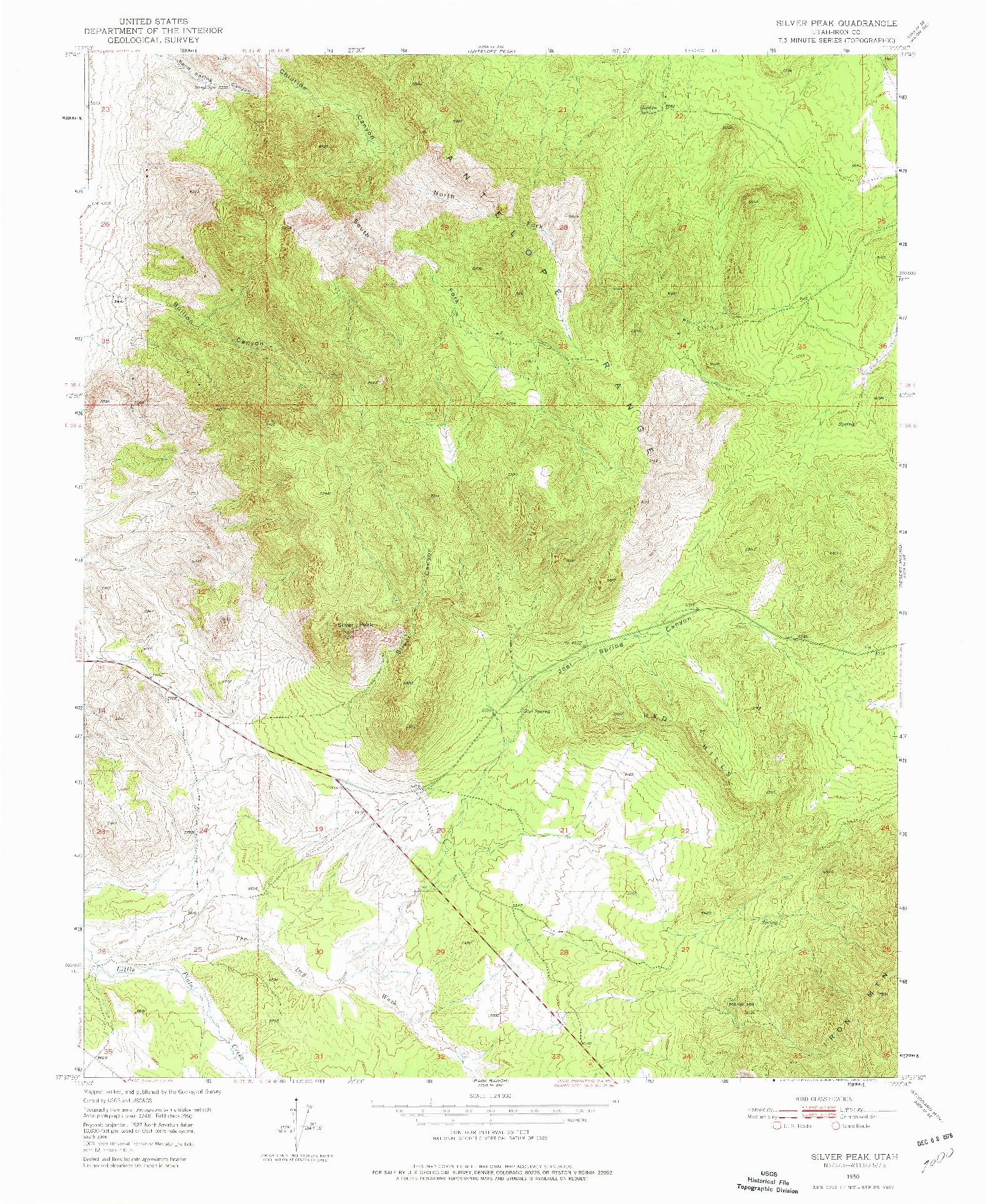 USGS 1:24000-SCALE QUADRANGLE FOR SILVER PEAK, UT 1950