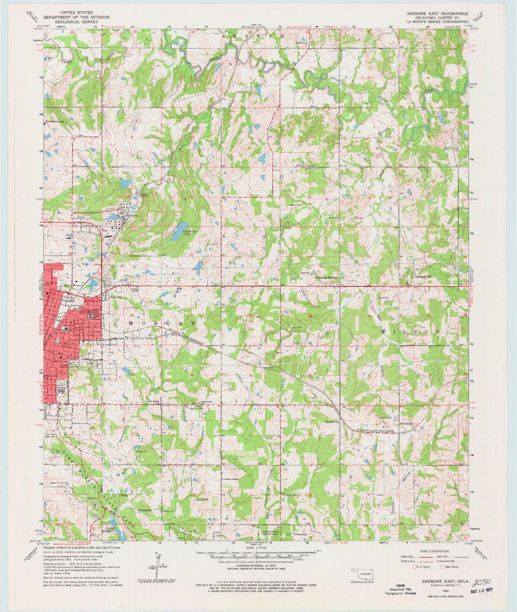 USGS 1:24000-SCALE QUADRANGLE FOR ARDMORE EAST, OK 1964