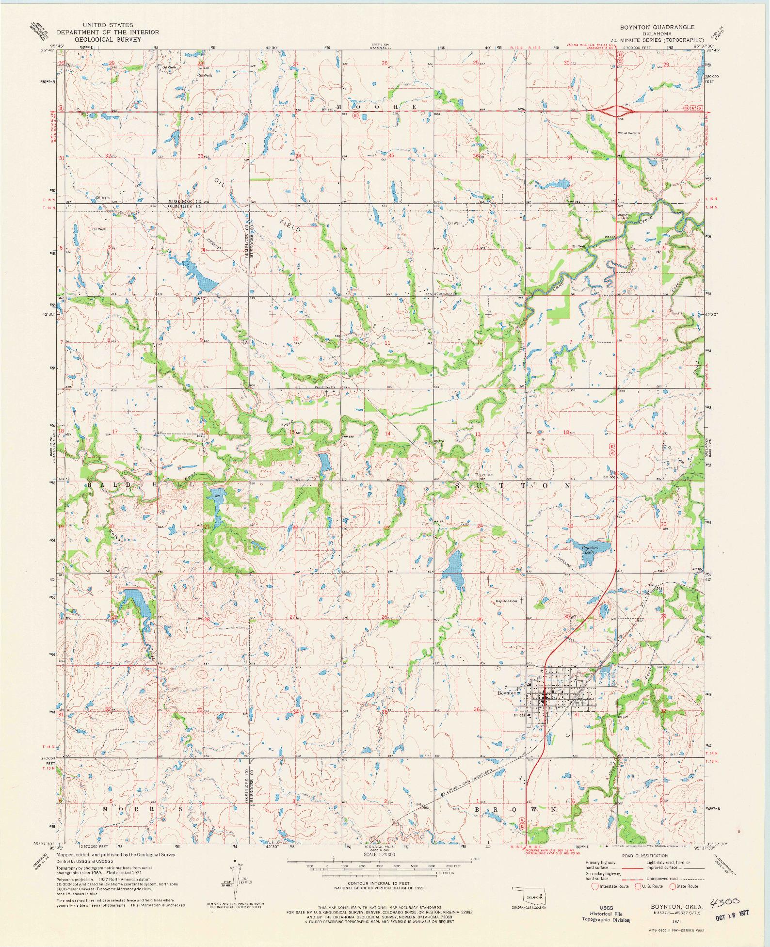 USGS 1:24000-SCALE QUADRANGLE FOR BOYNTON, OK 1971