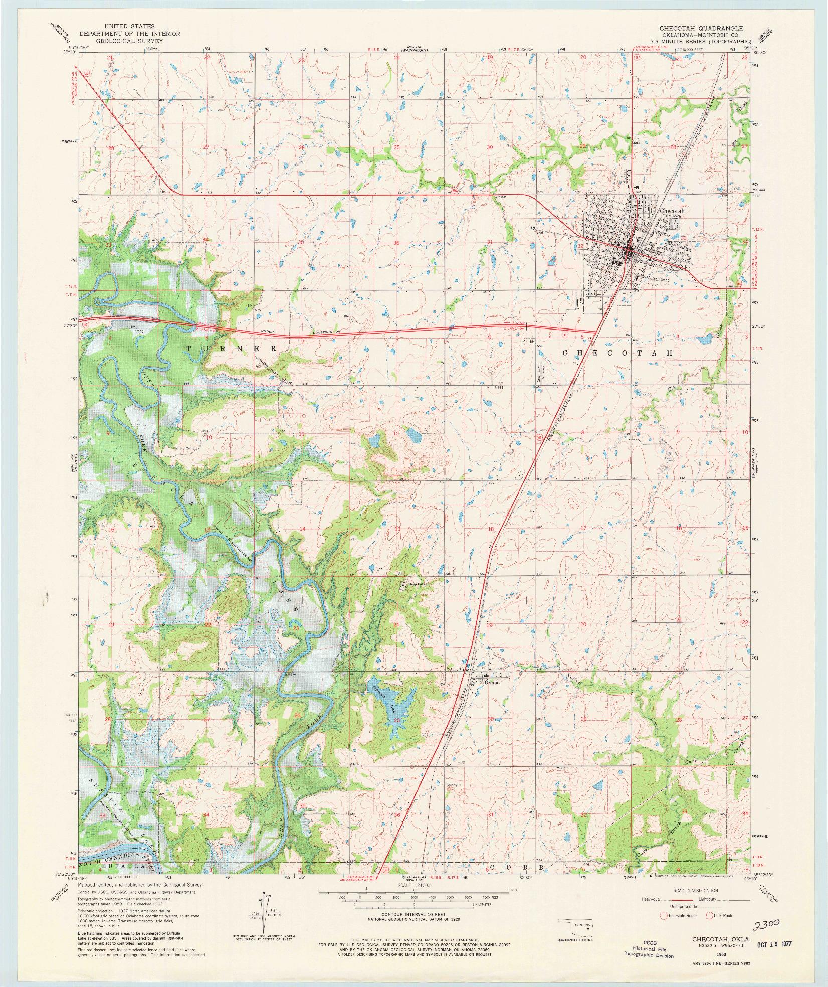 USGS 1:24000-SCALE QUADRANGLE FOR CHECOTAH, OK 1963