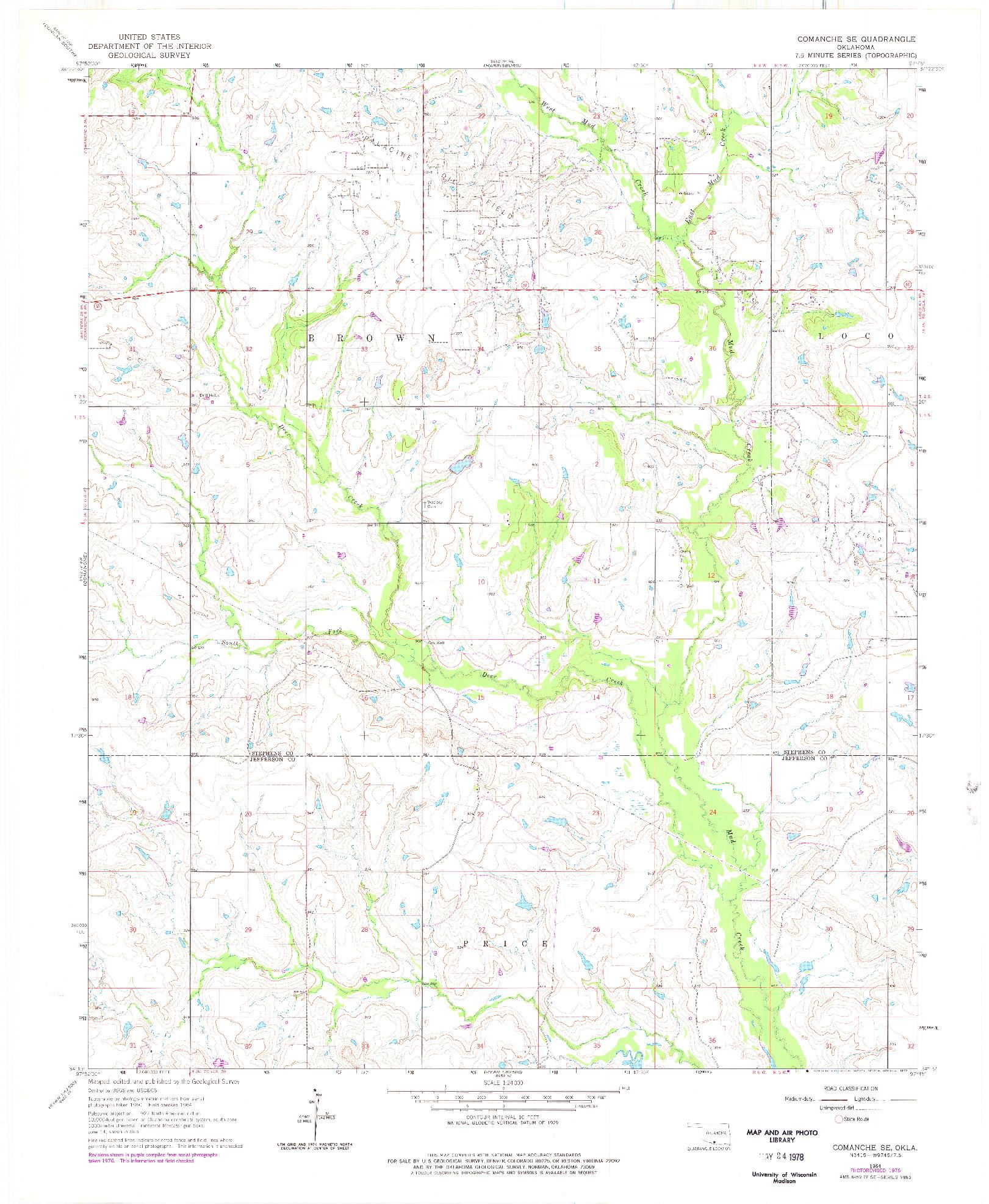 USGS 1:24000-SCALE QUADRANGLE FOR COMANCHE SE, OK 1964