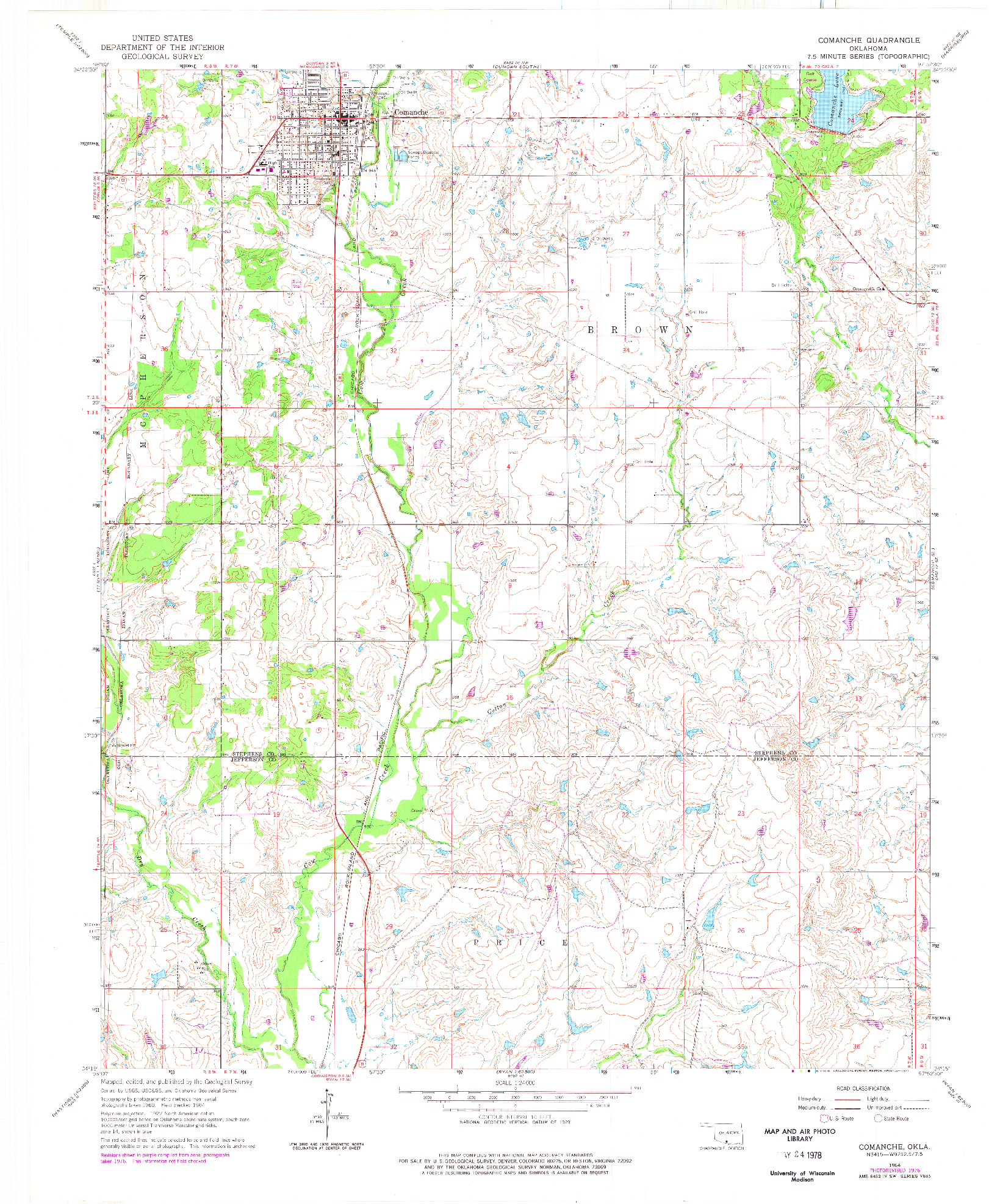 USGS 1:24000-SCALE QUADRANGLE FOR COMANCHE, OK 1964