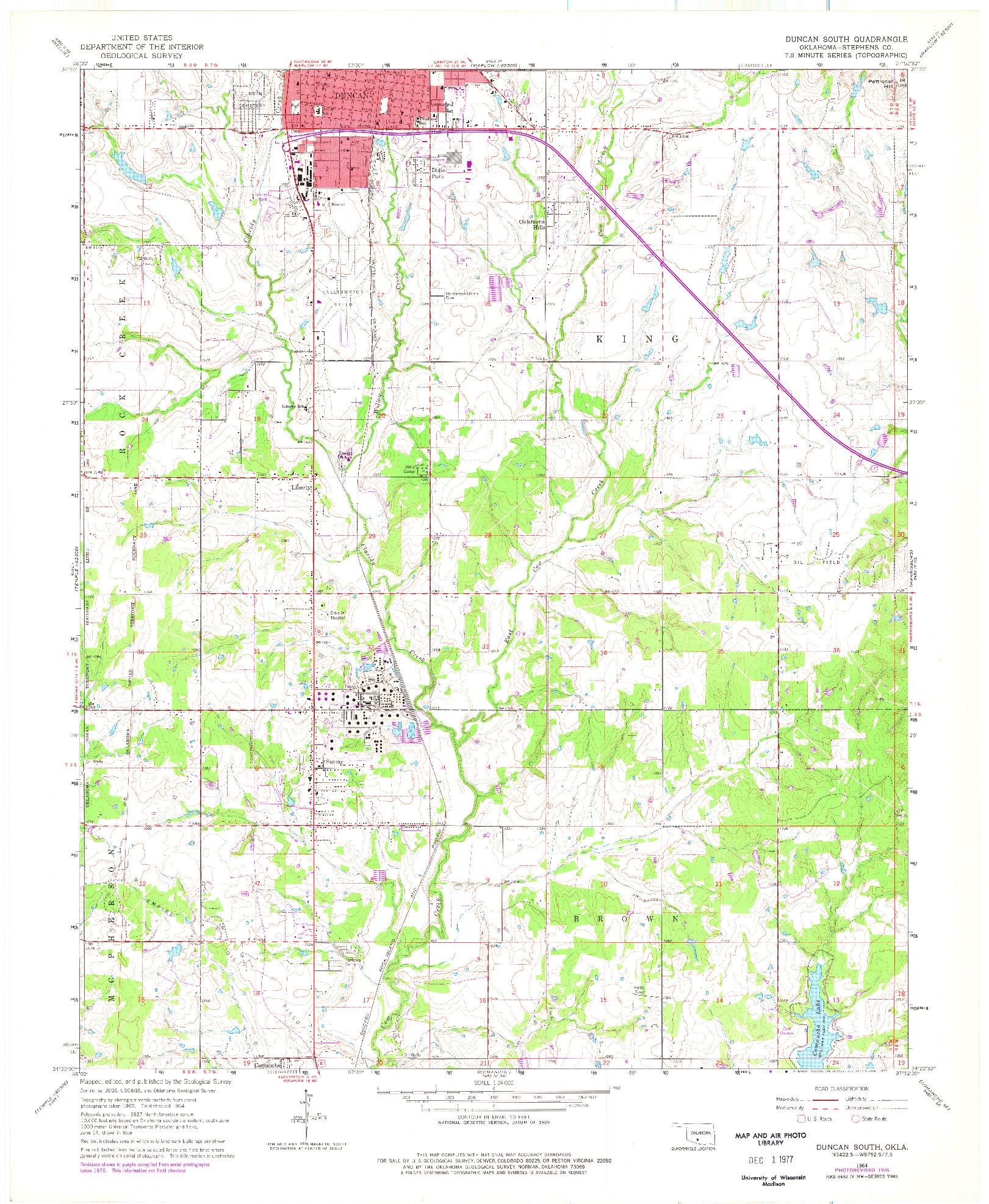 USGS 1:24000-SCALE QUADRANGLE FOR DUNCAN SOUTH, OK 1964