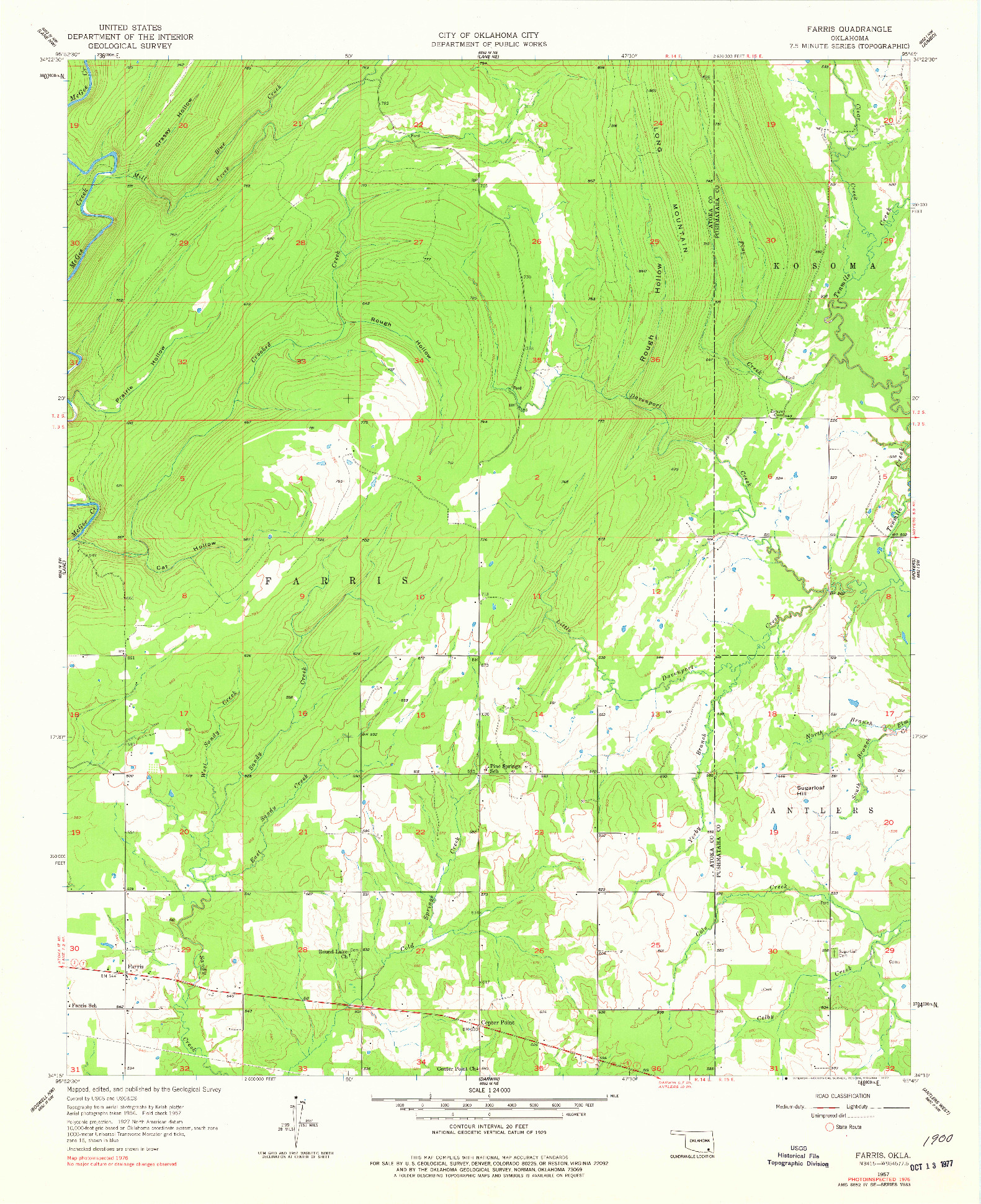 USGS 1:24000-SCALE QUADRANGLE FOR FARRIS, OK 1957