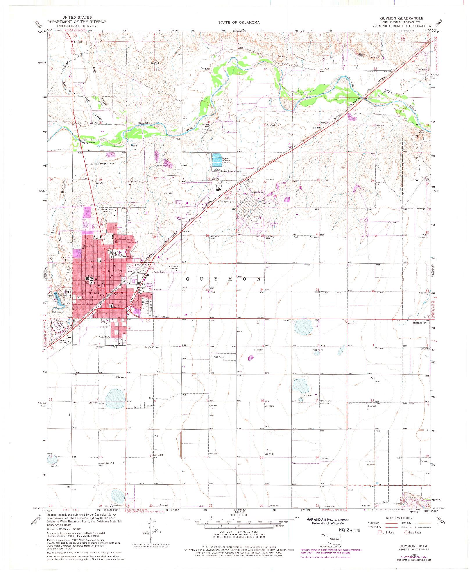 USGS 1:24000-SCALE QUADRANGLE FOR GUYMON, OK 1968