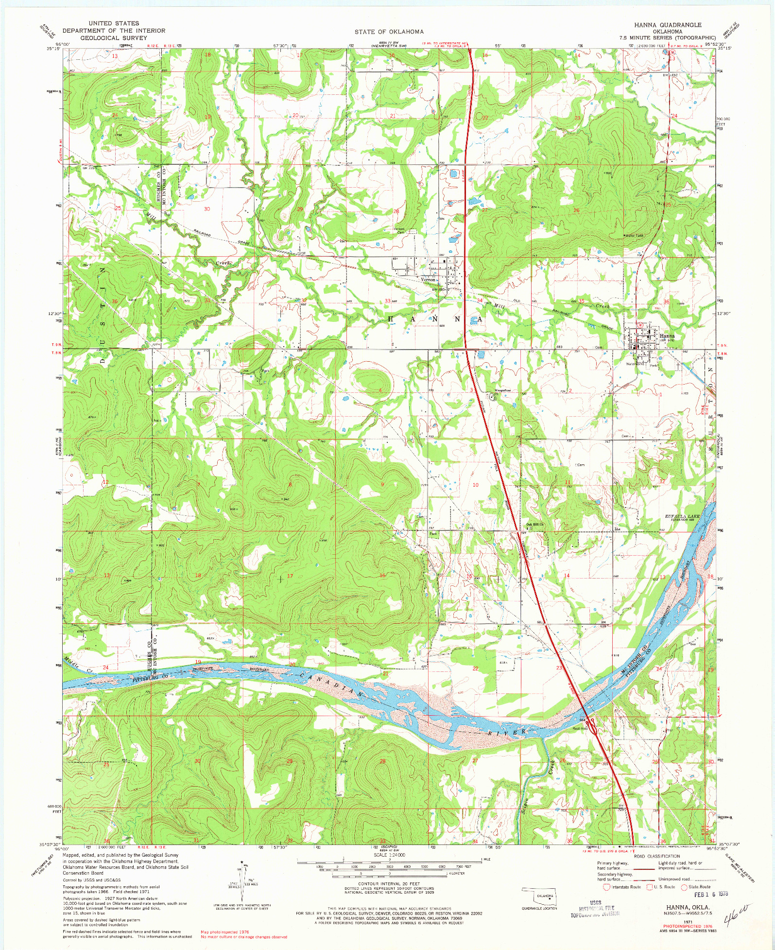 USGS 1:24000-SCALE QUADRANGLE FOR HANNA, OK 1971