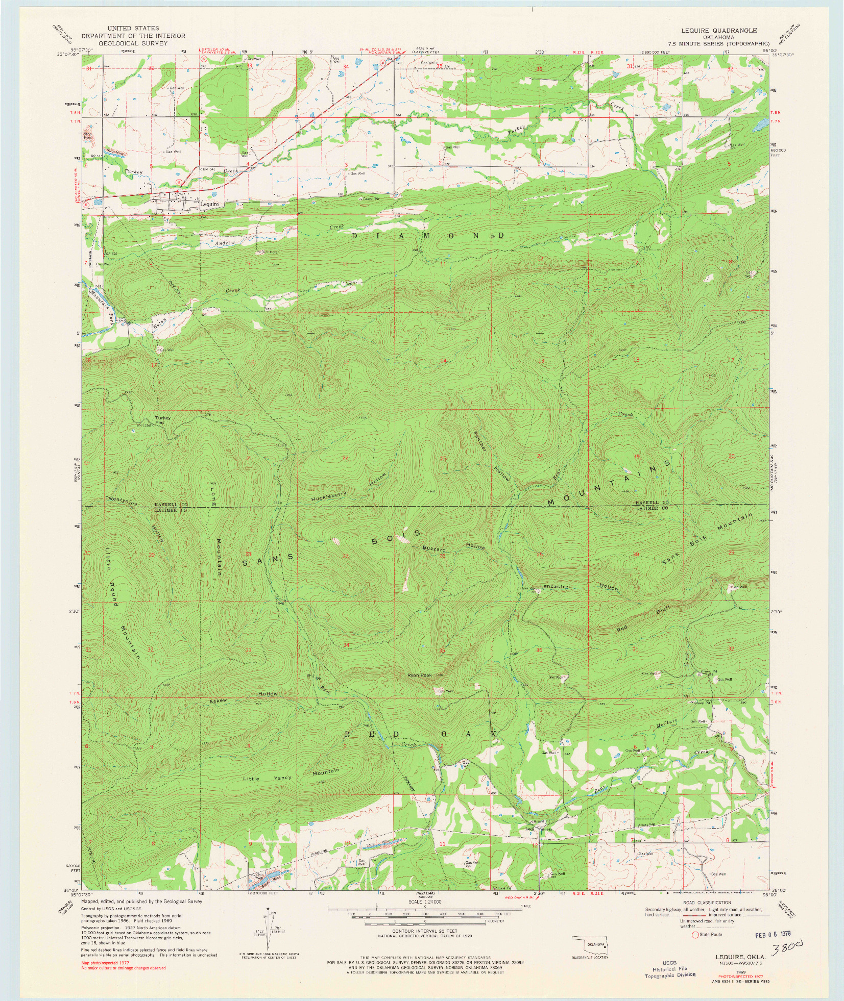 USGS 1:24000-SCALE QUADRANGLE FOR LEQUIRE, OK 1969