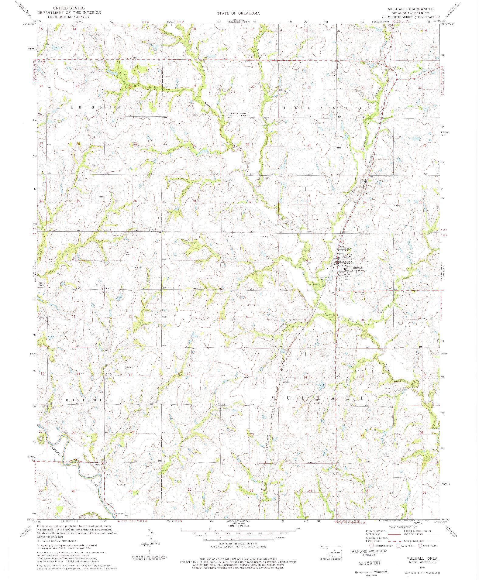 USGS 1:24000-SCALE QUADRANGLE FOR MULHALL, OK 1974