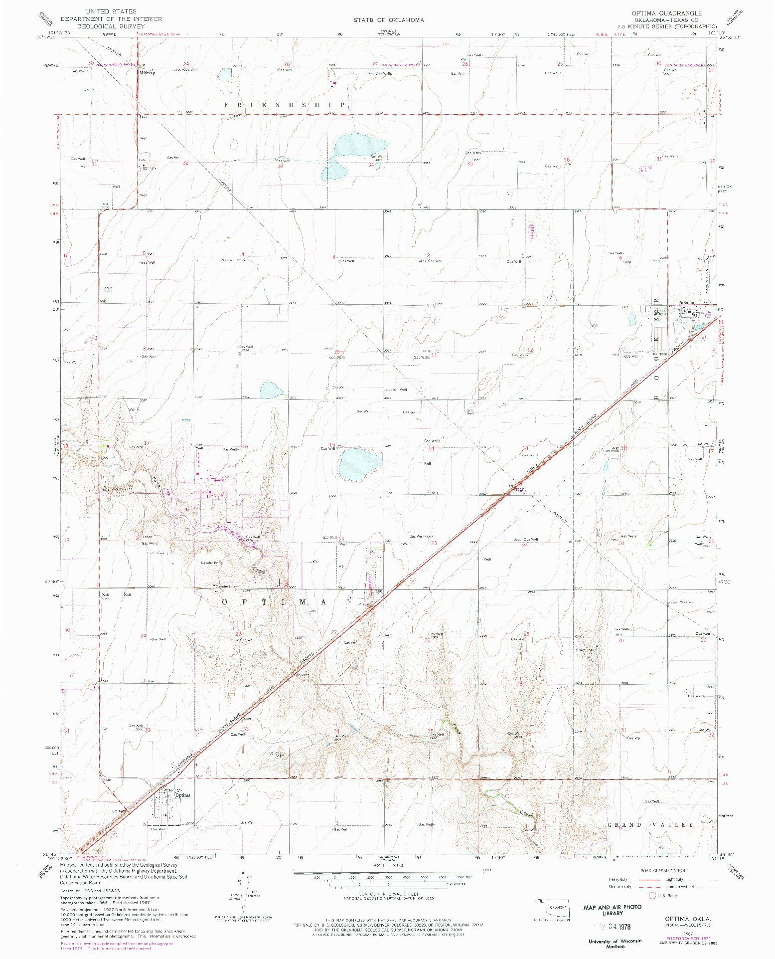USGS 1:24000-SCALE QUADRANGLE FOR OPTIMA, OK 1967