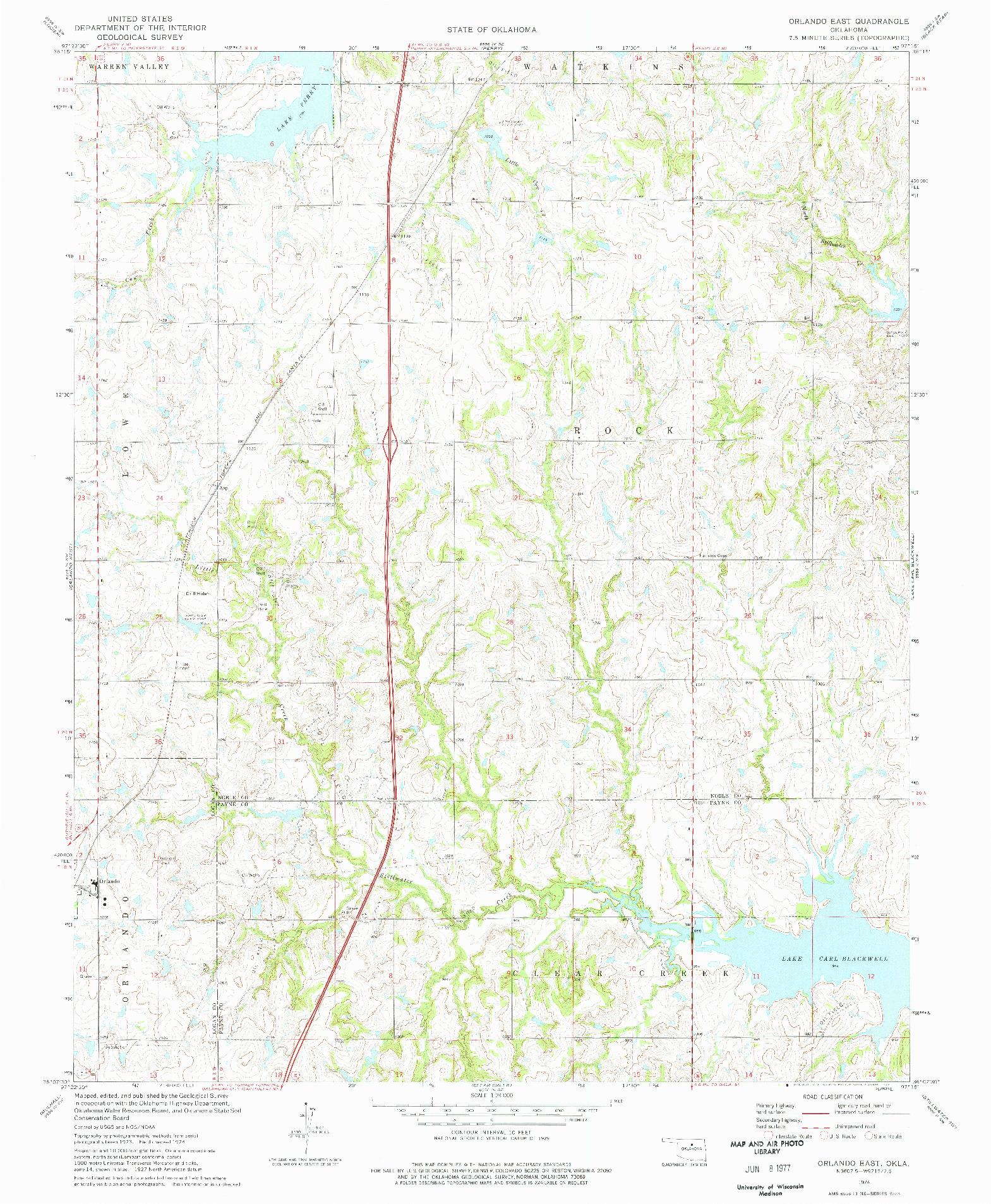 USGS 1:24000-SCALE QUADRANGLE FOR ORLANDO EAST, OK 1974