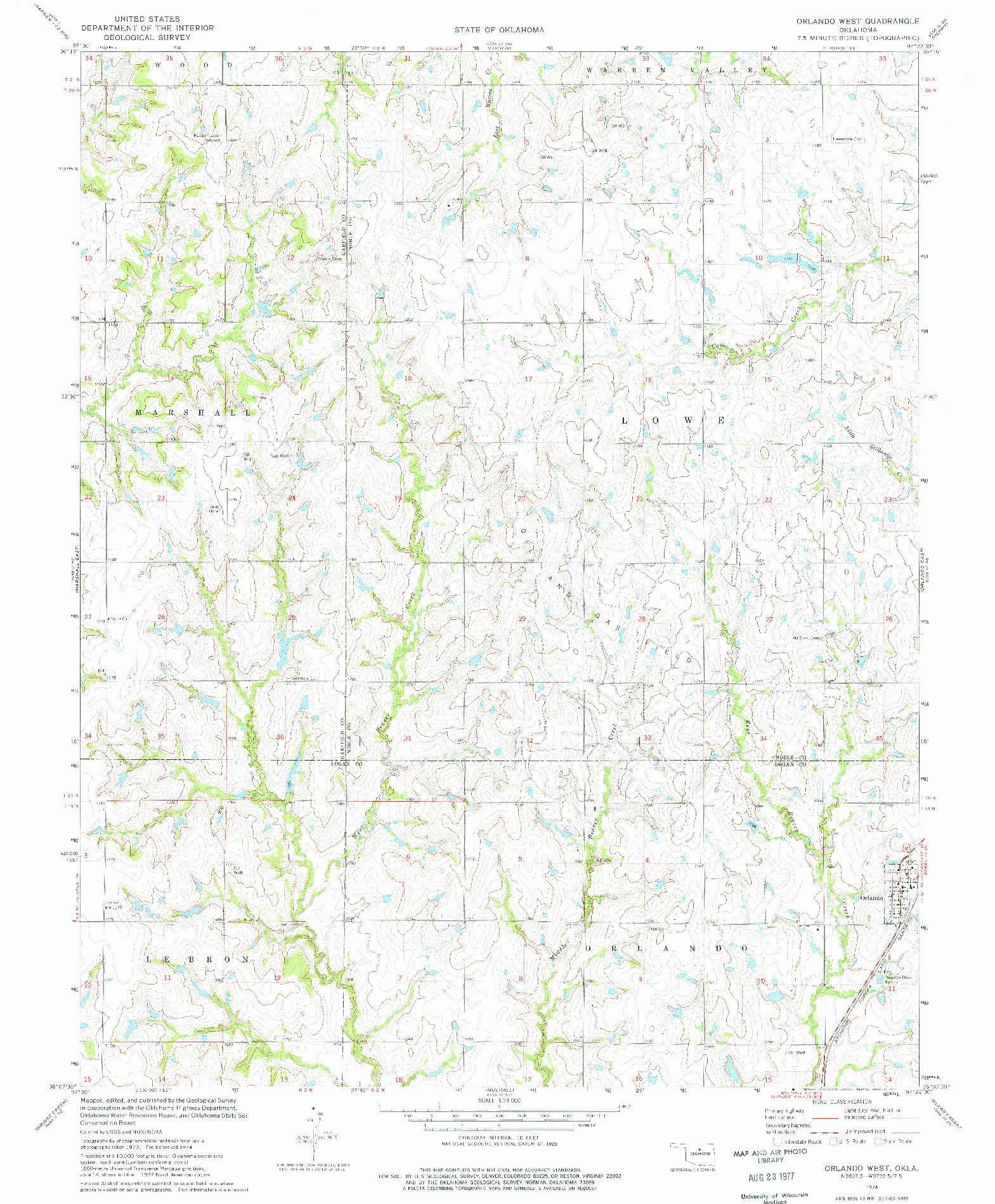 USGS 1:24000-SCALE QUADRANGLE FOR ORLANDO WEST, OK 1974