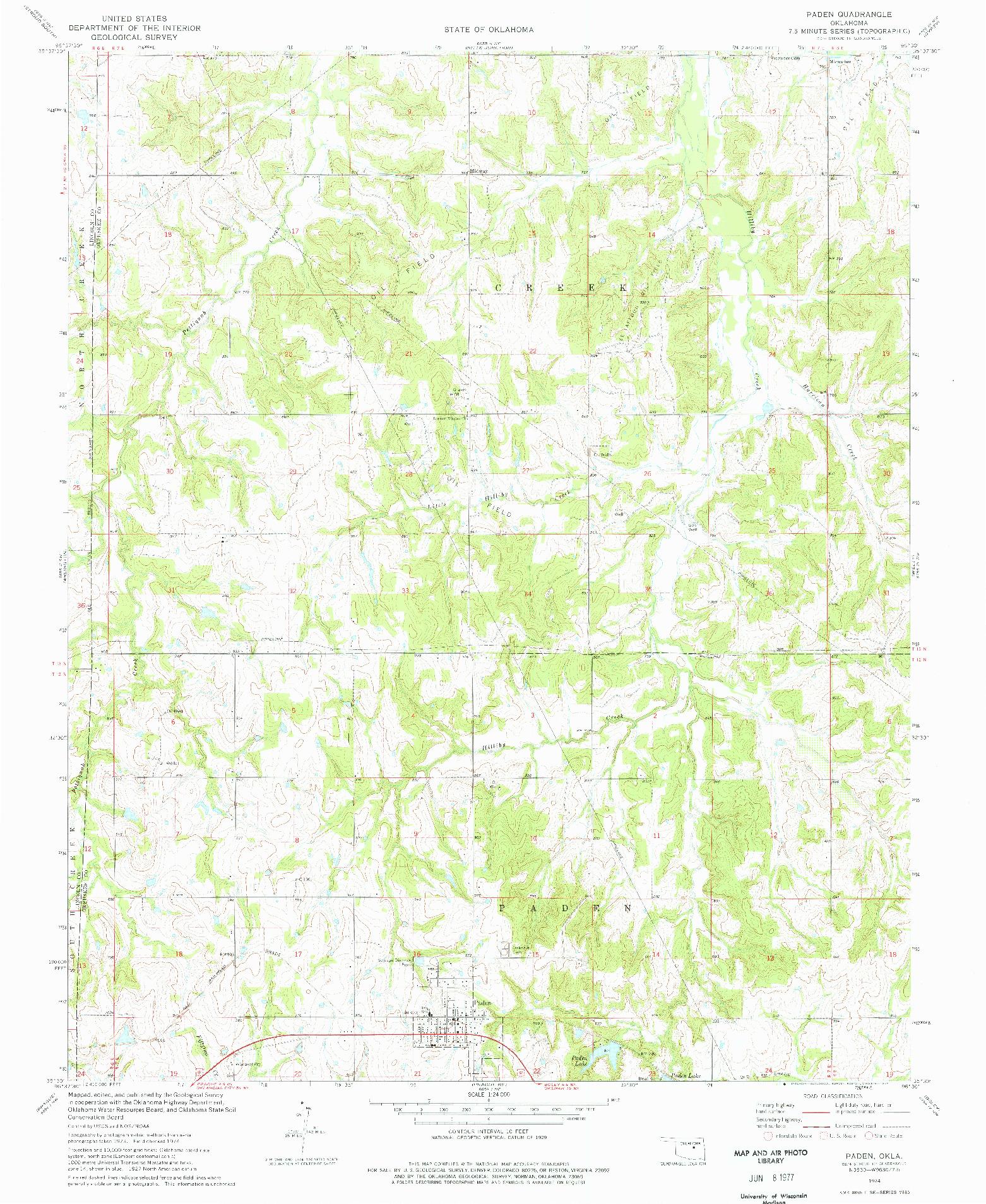 USGS 1:24000-SCALE QUADRANGLE FOR PADEN, OK 1974