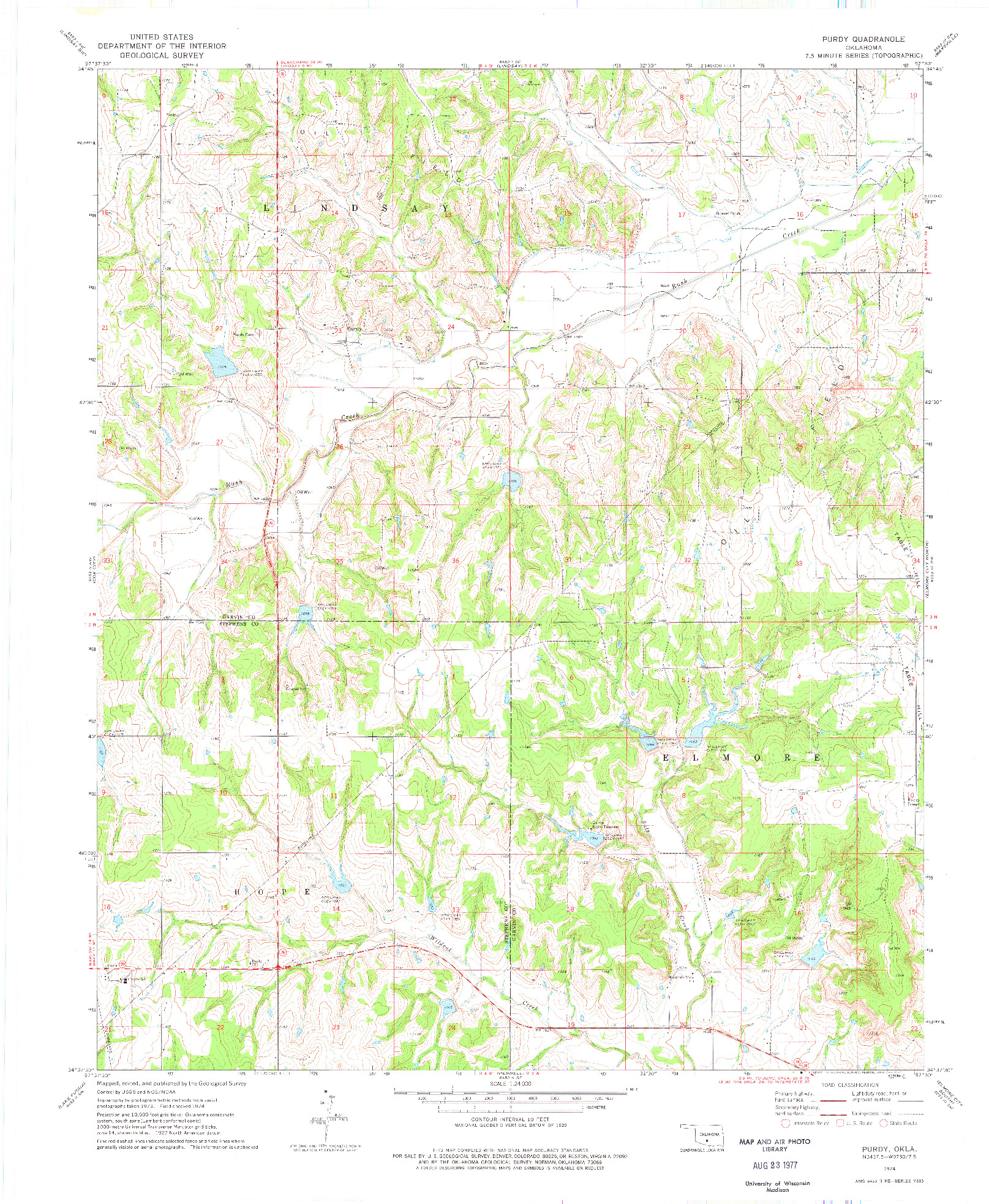USGS 1:24000-SCALE QUADRANGLE FOR PURDY, OK 1974