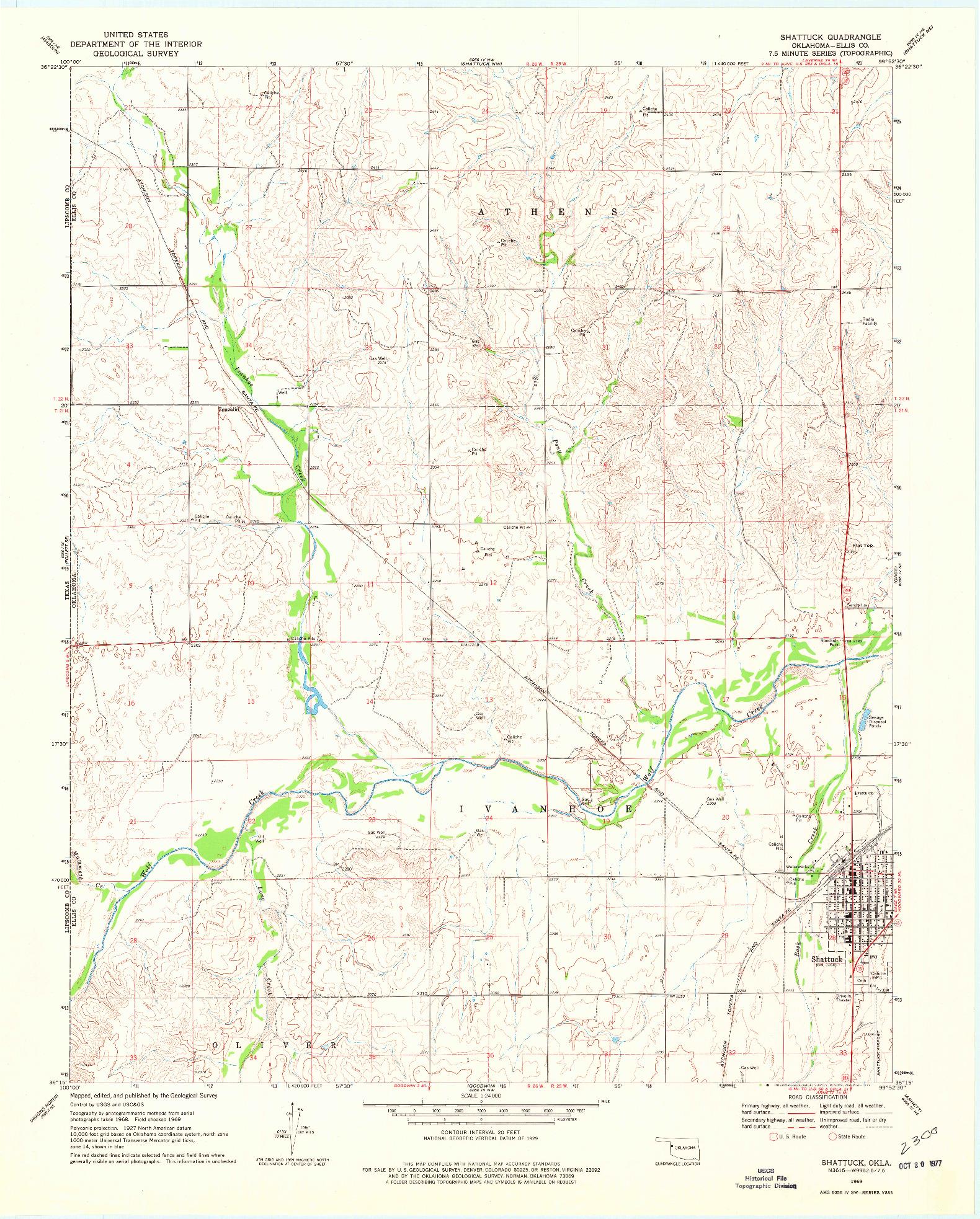 USGS 1:24000-SCALE QUADRANGLE FOR SHATTUCK, OK 1969