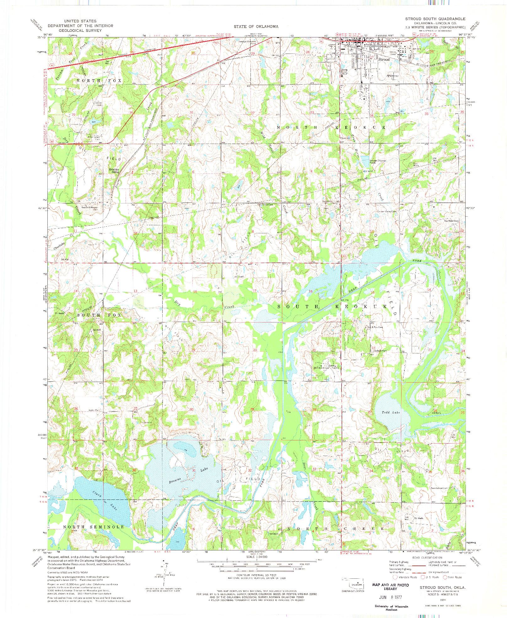 USGS 1:24000-SCALE QUADRANGLE FOR STROUD SOUTH, OK 1974
