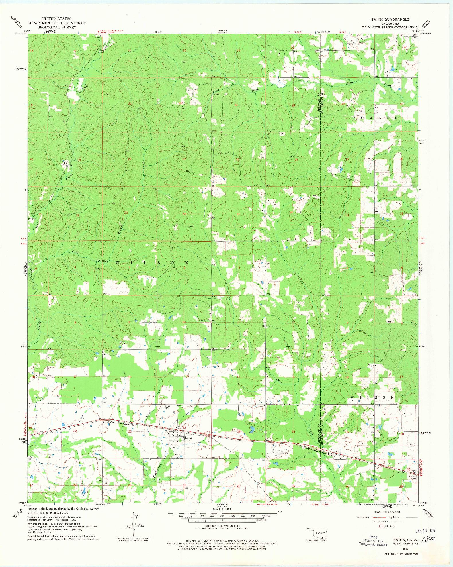 USGS 1:24000-SCALE QUADRANGLE FOR SWINK, OK 1962