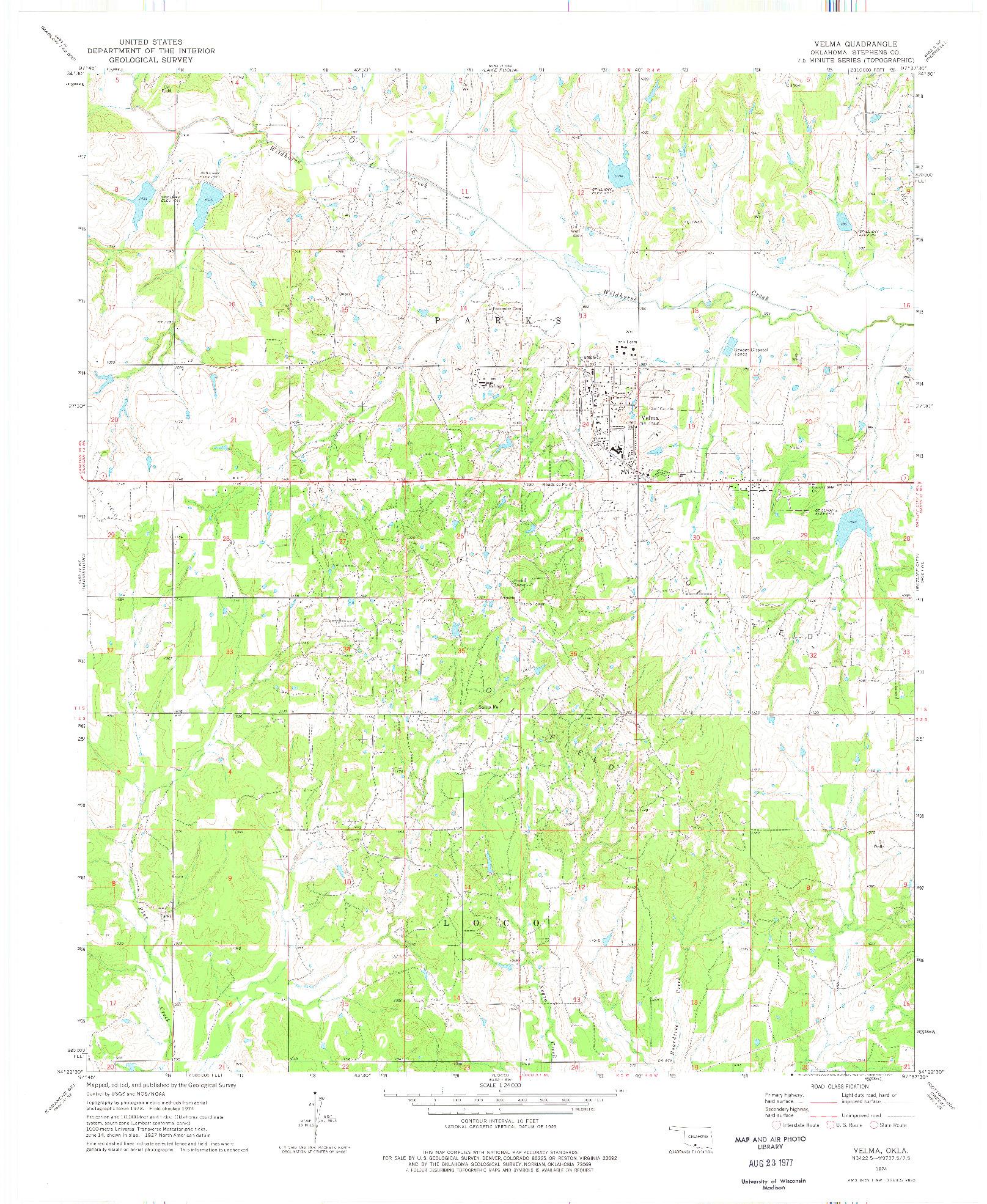 USGS 1:24000-SCALE QUADRANGLE FOR VELMA, OK 1974