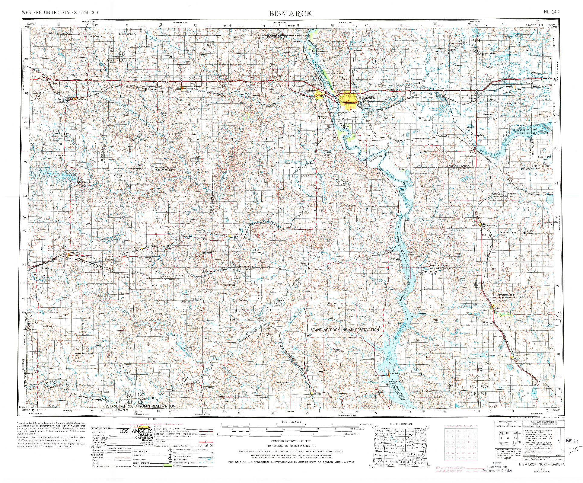 USGS 1:250000-SCALE QUADRANGLE FOR BISMARCK, ND 1954