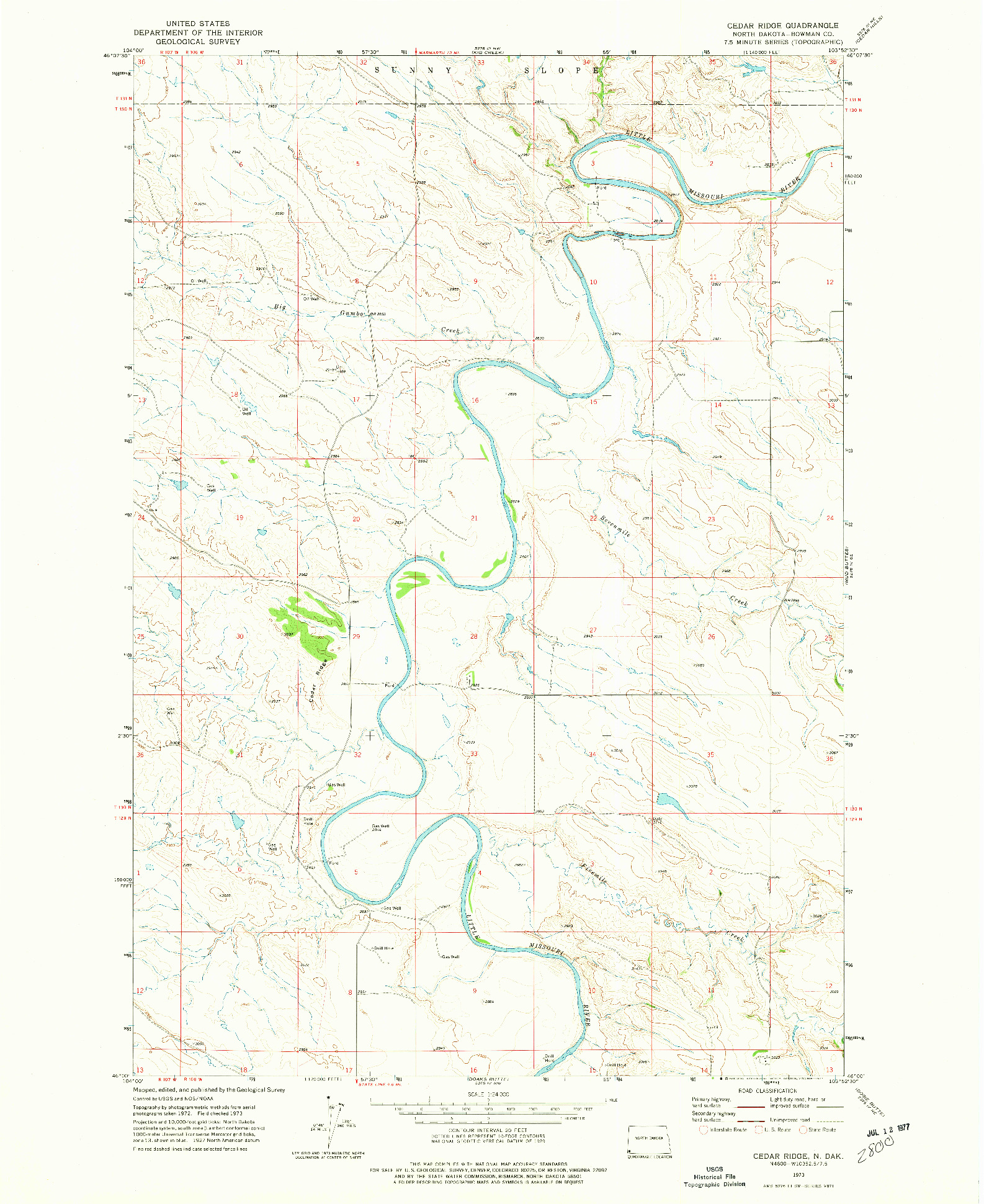 USGS 1:24000-SCALE QUADRANGLE FOR CEDAR RIDGE, ND 1973