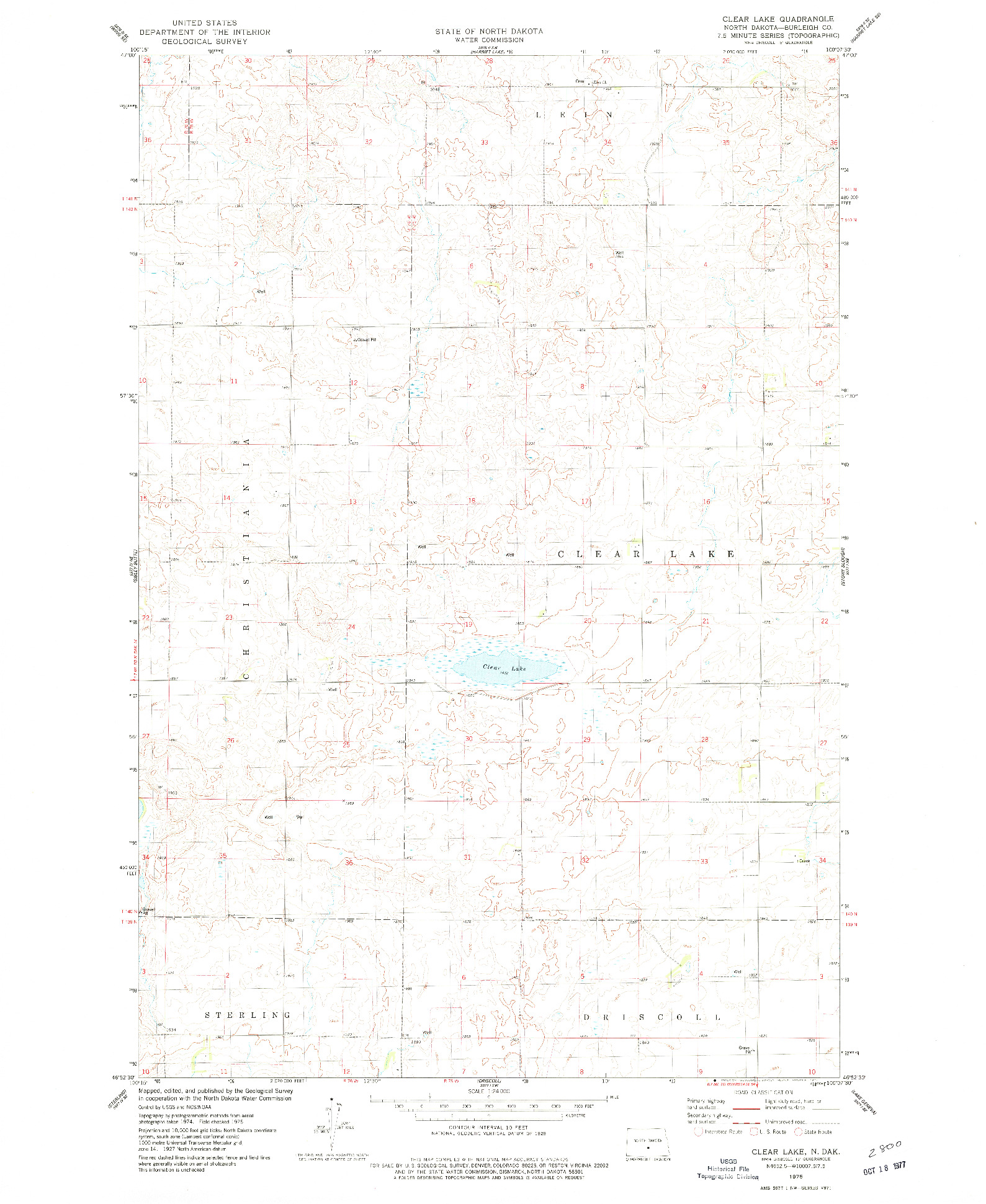 USGS 1:24000-SCALE QUADRANGLE FOR CLEAR LAKE, ND 1975